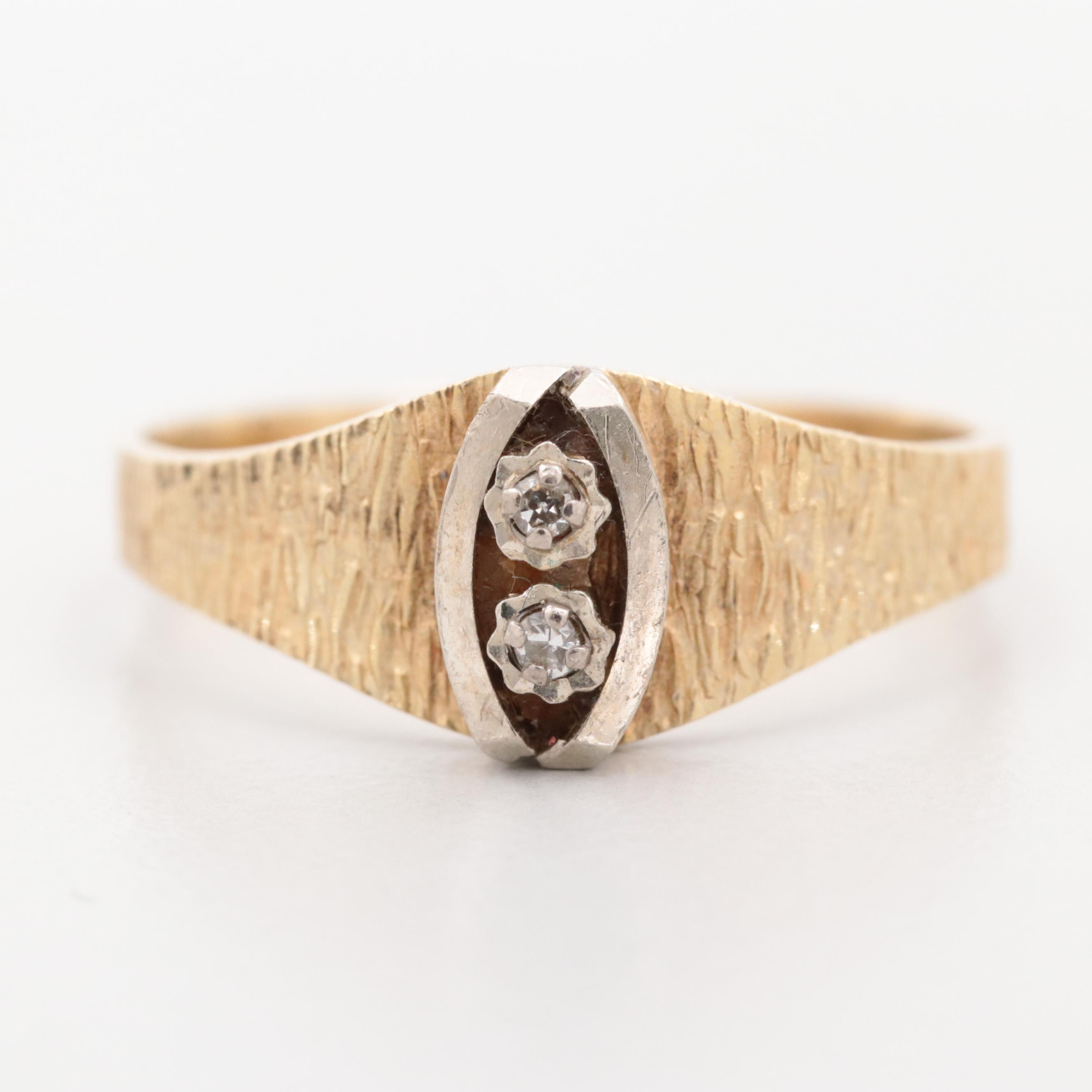 14K Yellow Gold Diamond Ring with White Gold and Textured Accents