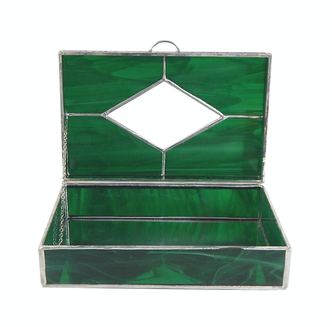 Leaded Green Slag Glass Jewelry Box