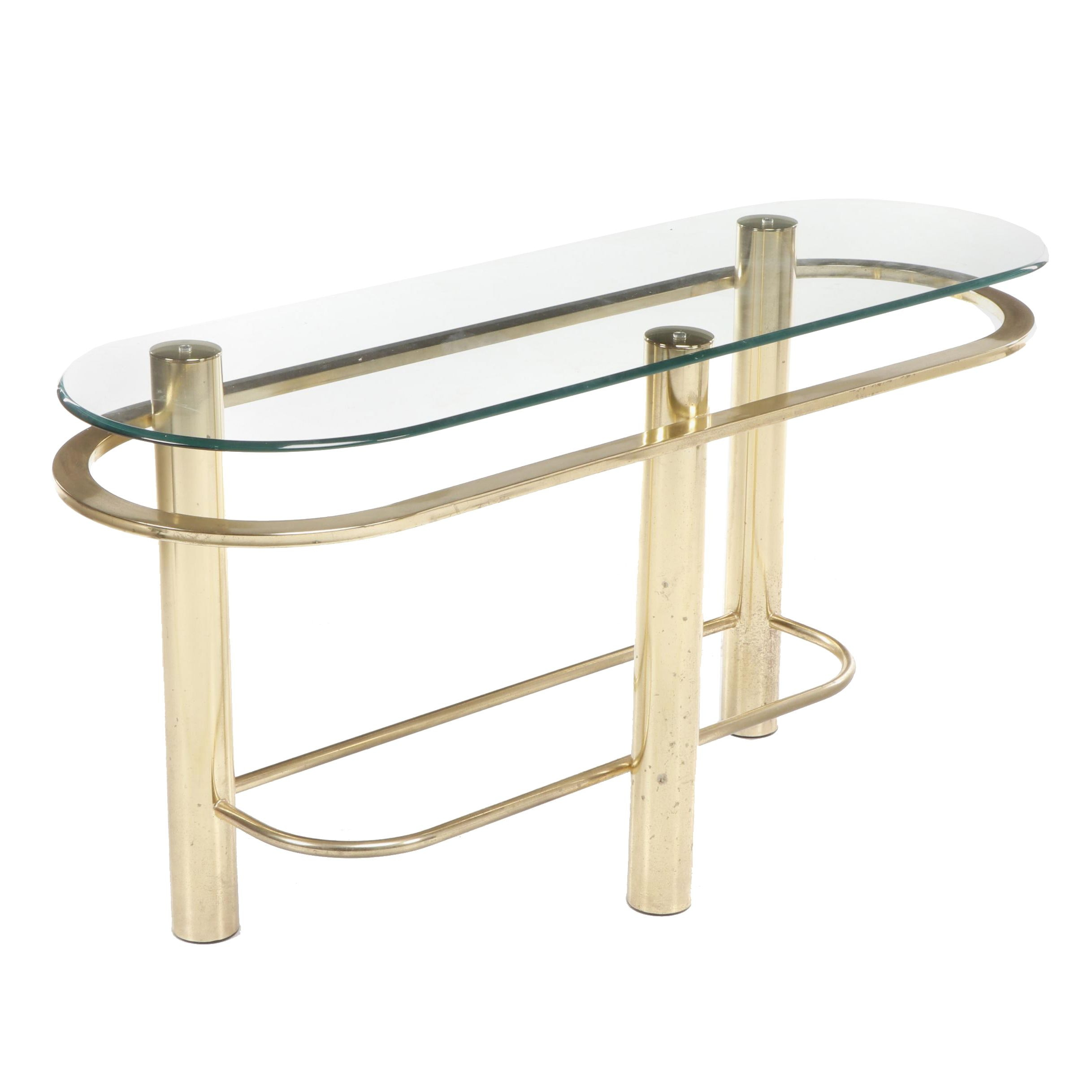 Modern Style Brass Glass-Topped Console Table, Circa 1980