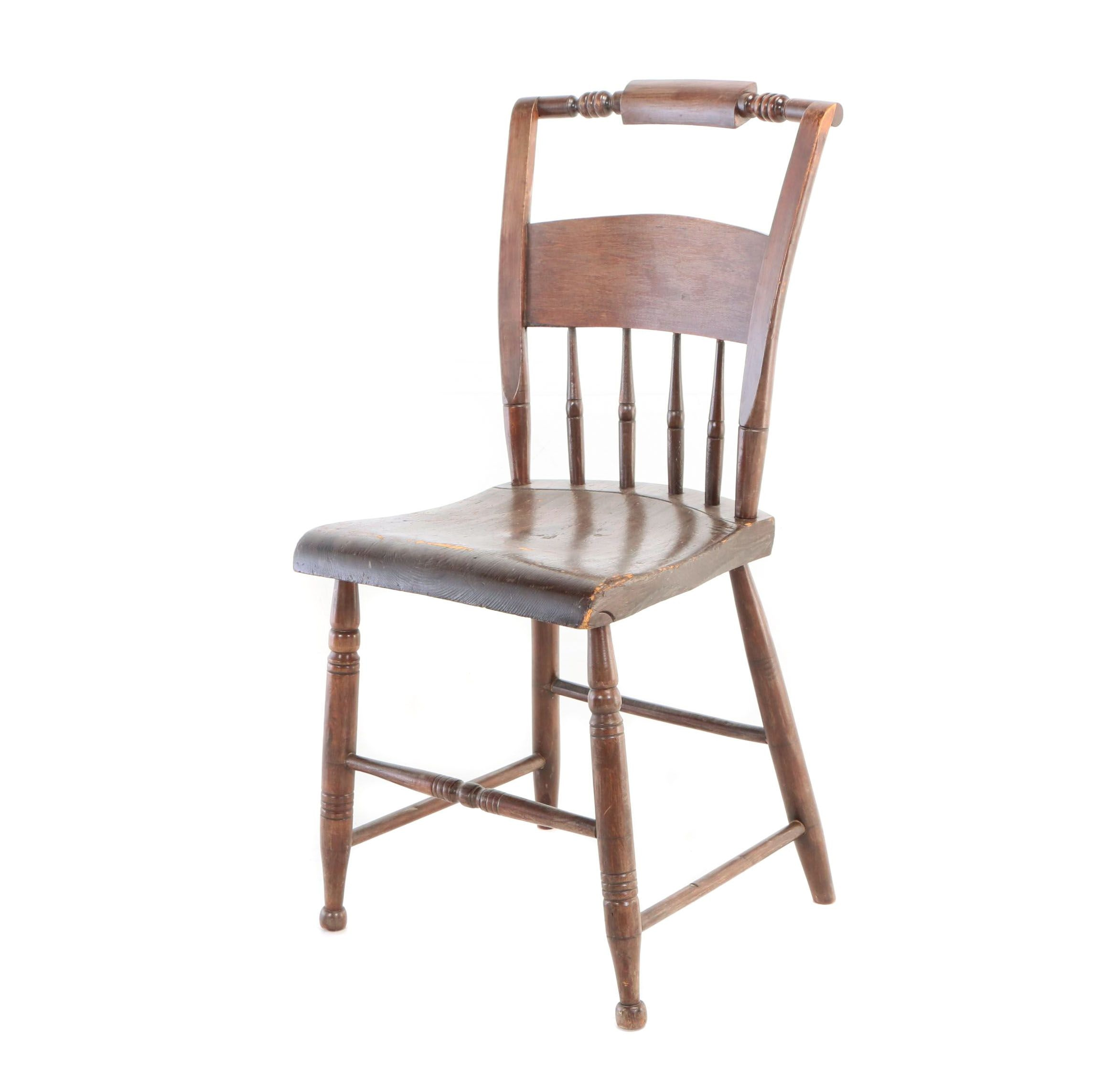 American Brown-Painted Plank-Seat Side Chair, Mid 19th Century