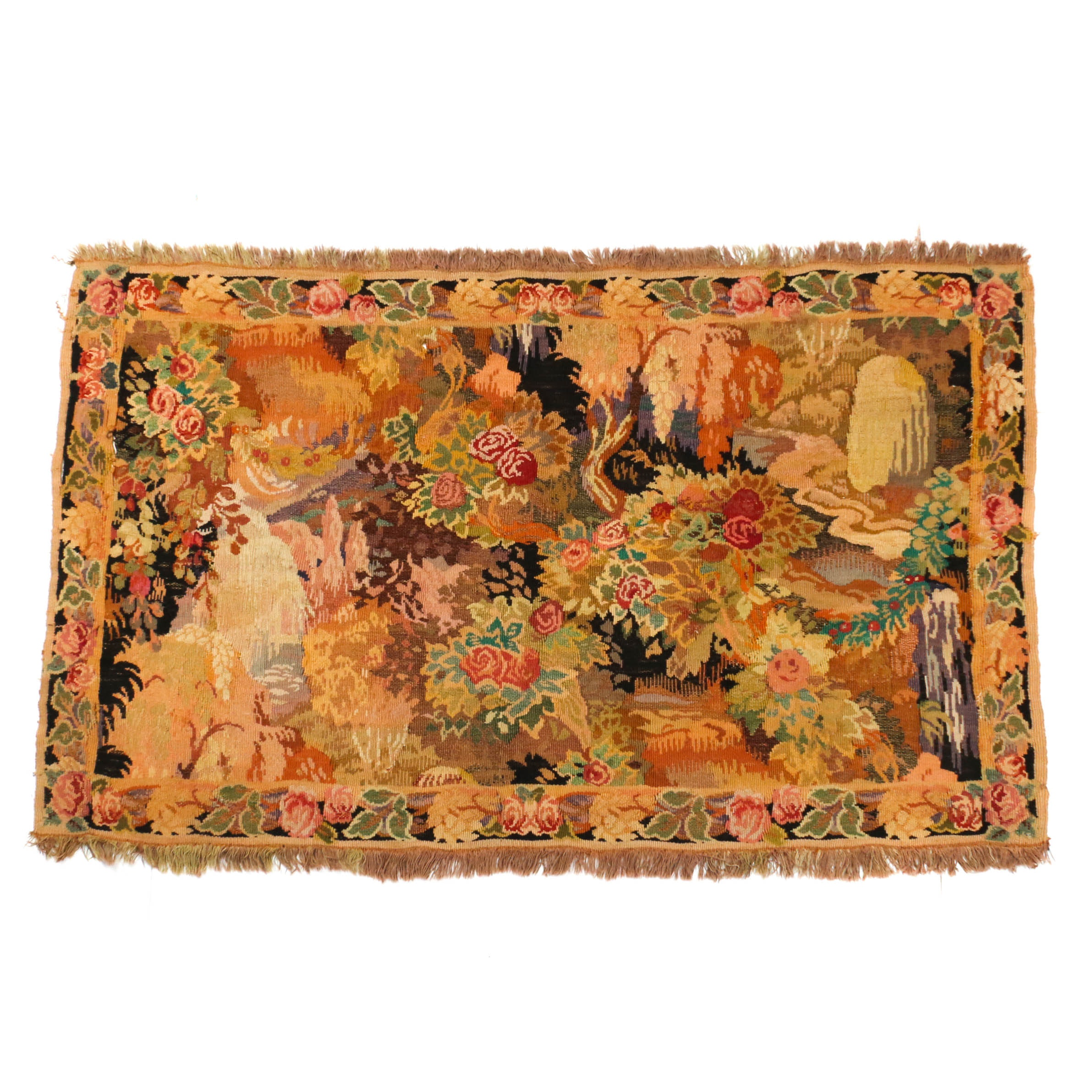 3'7 x 5'4 Handwoven European Floral Tapestry, Circa 1890