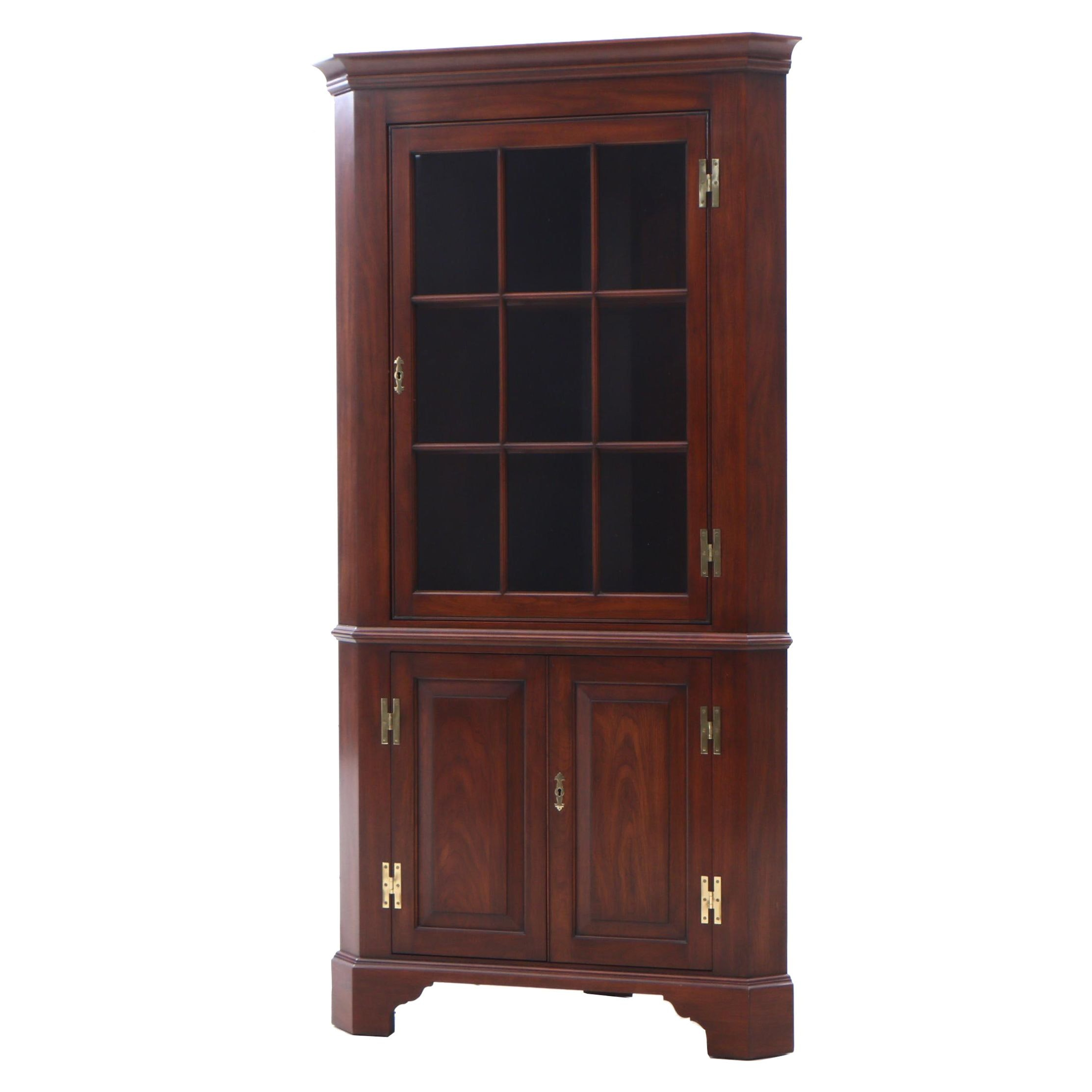Henkle-Harris Cherry Illuminated Corner Display Cabinet