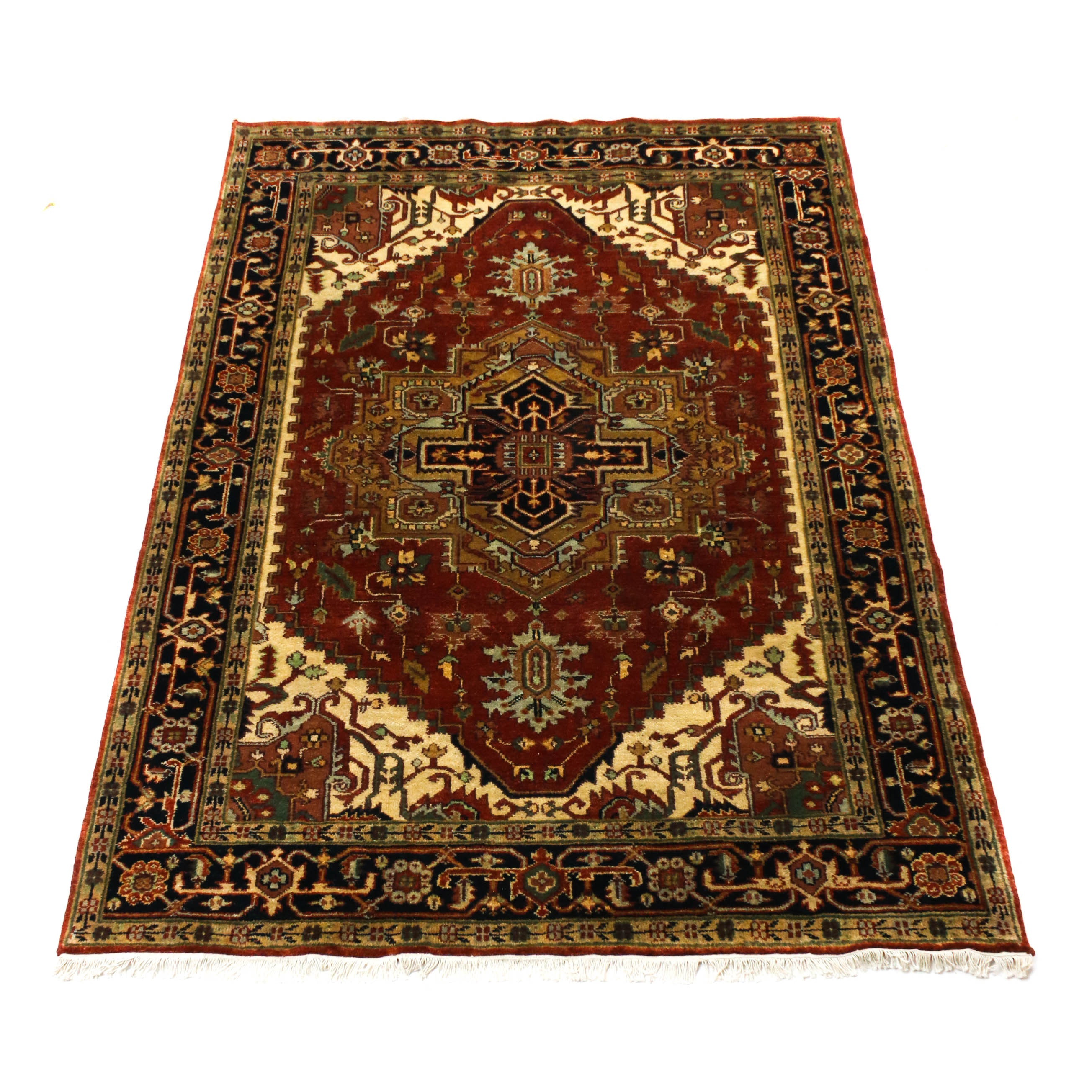 6'0 x 9'2 Hand-Knotted Indo-Persian Heriz Serapi Wool Rug