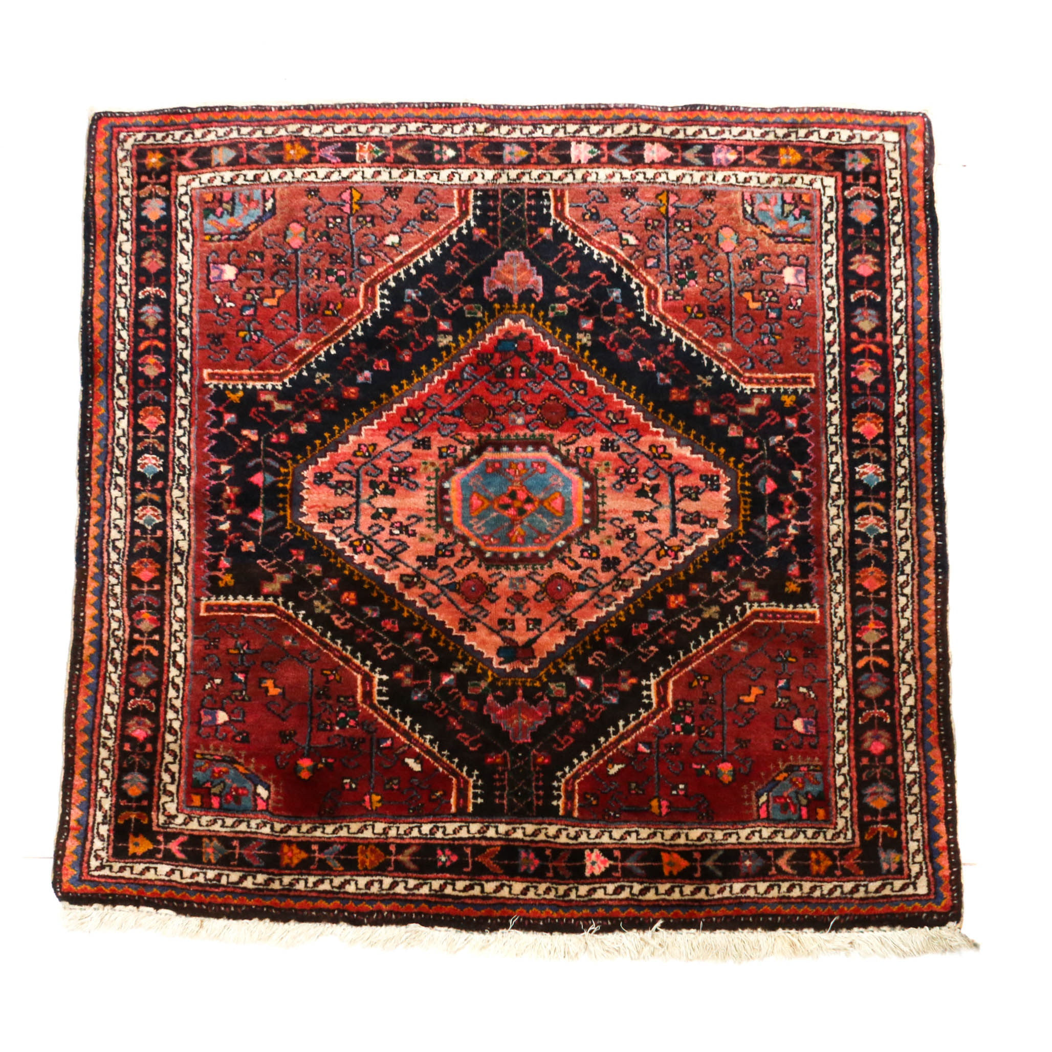 4'8 x 4'11 Hand-Knotted Persian Malayer Wool Rug, Circa 1930