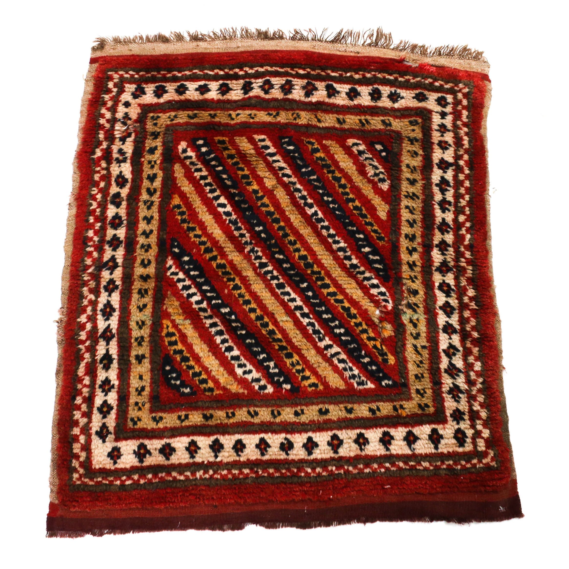 2'6 x 3'1 Hand-Knotted Turkish Oushak Wool Rug, Circa 1900