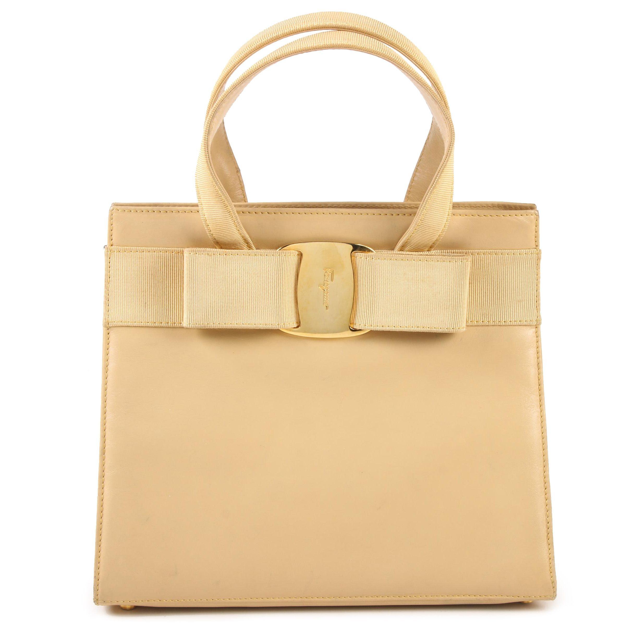 Salvatore Ferragamo Vara Bow Flax Leather Top Handle Bag, Vintage