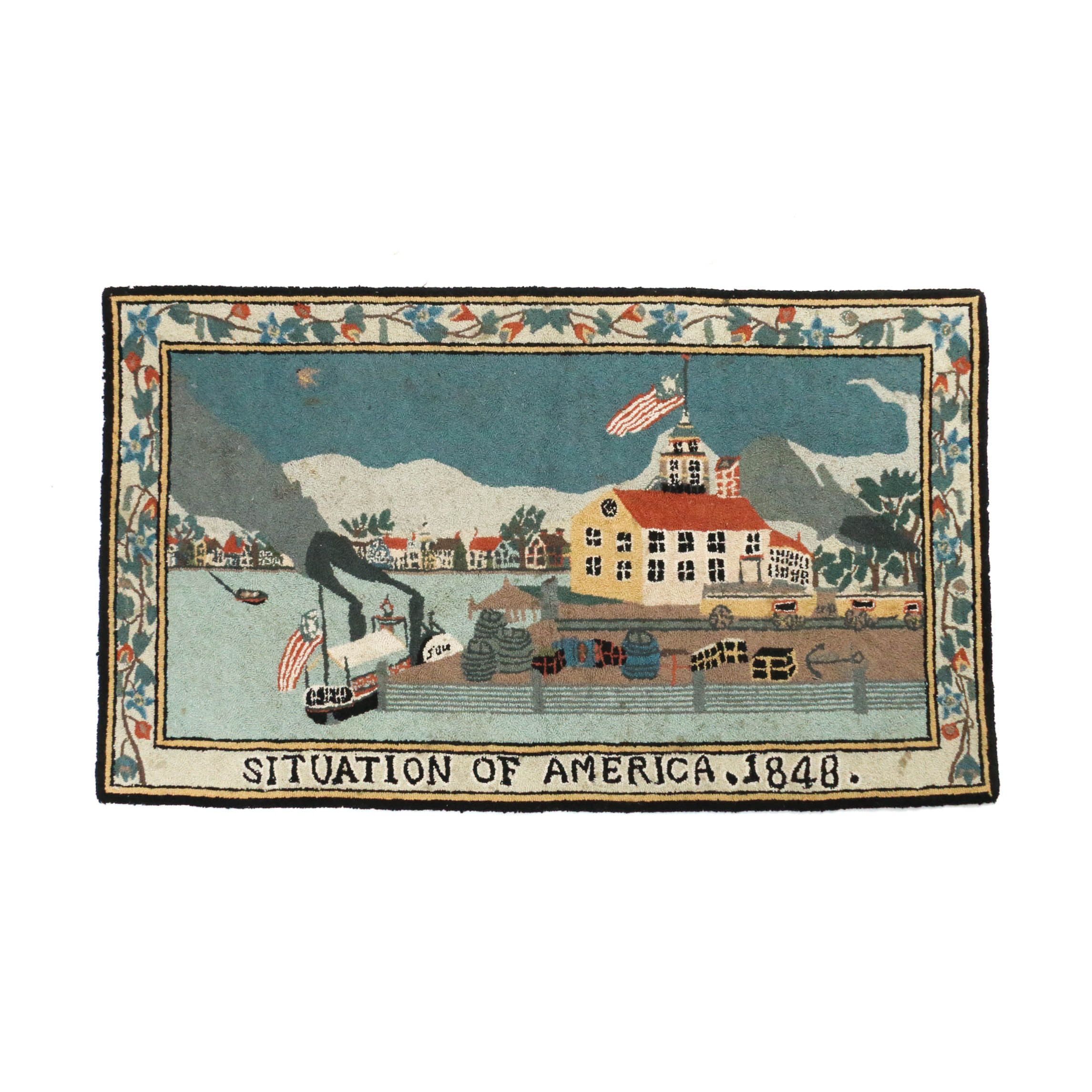 """2'5 x 4'0 Pass-Tufted """"Situation of America"""" Pictorial Rug"""