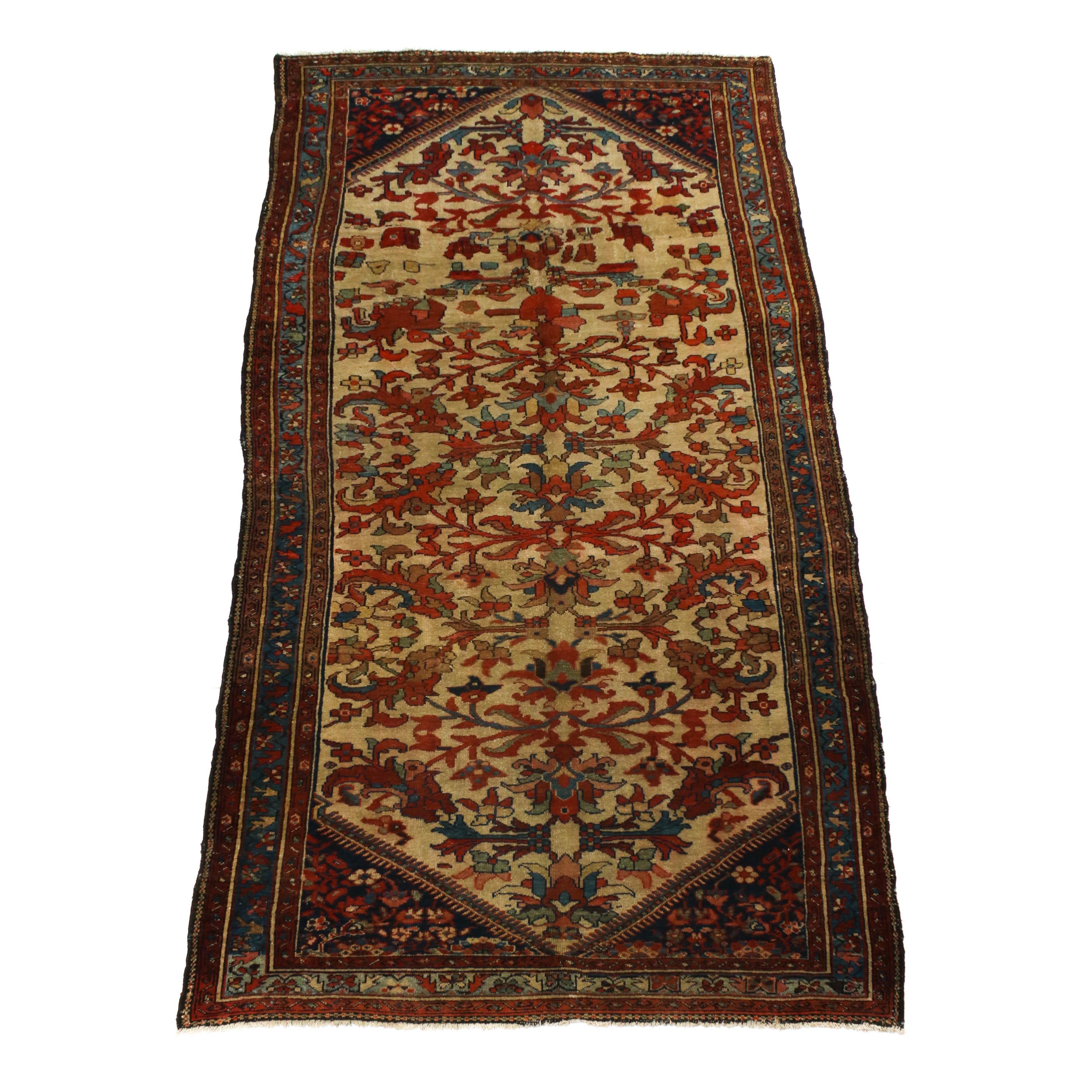 5'0 x 9'11 Hand-Knotted Persian Bakhtiari Wool Rug, Circa 1900