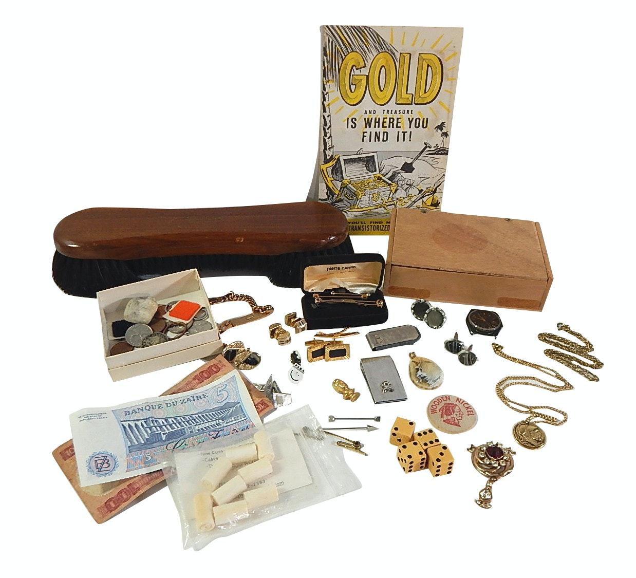 Foreign Currency, Medals, Cufflinks, Billiard Brush, Wood Box, Trinkets