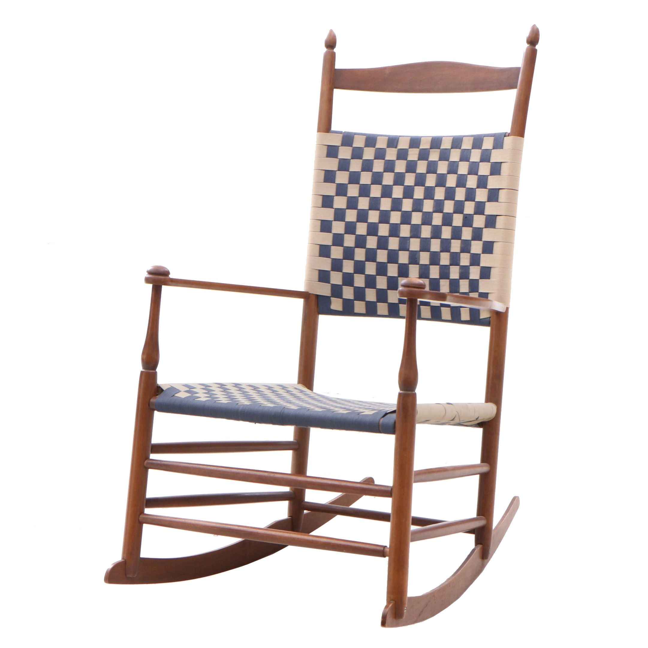 Hand Crafted Shaker Style Maple Rocking Chair with Woven Back and Seat