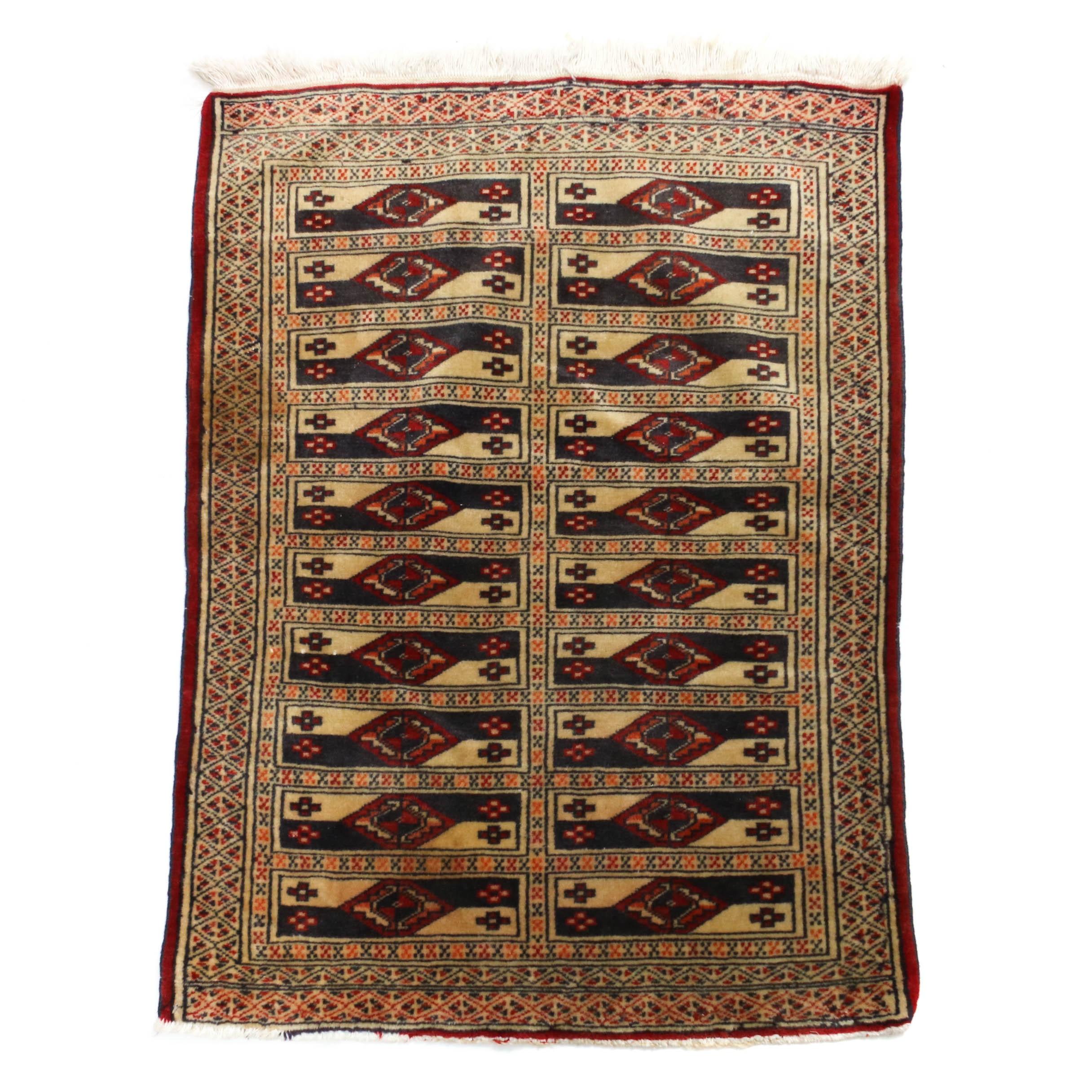 2'3 x 3'3 Hand-Knotted Persian Turkoman Wool Rug, Circa 1930