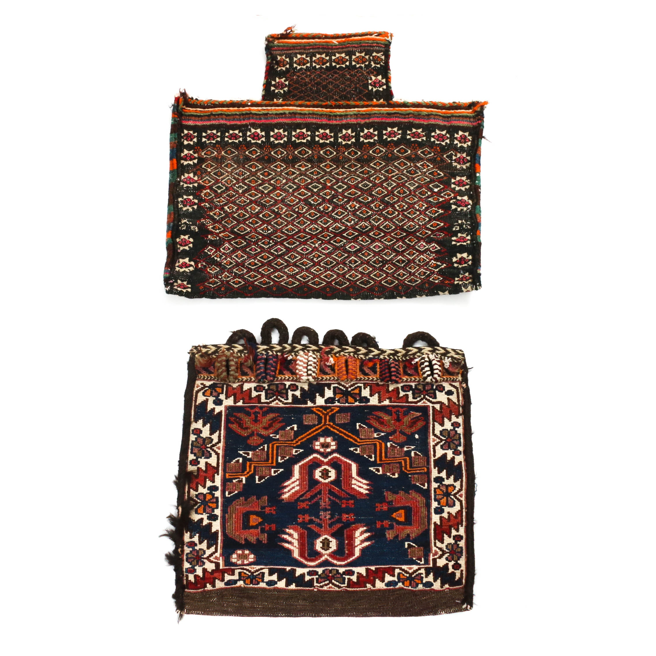 2'0 x 1'10 Hand-Knotted and Brocade Persian Kurdish Wool Saddle Bags