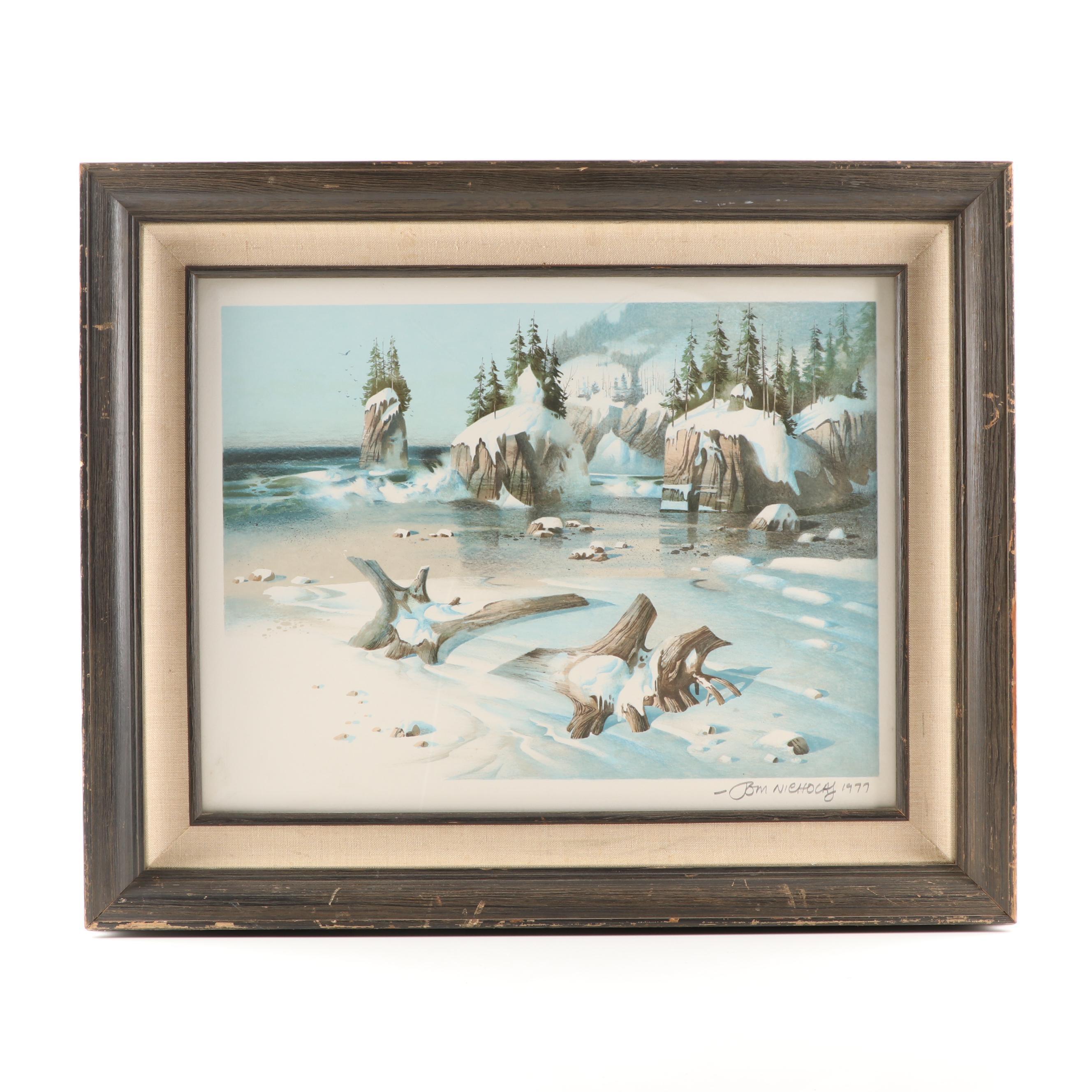 """Tom Nicholas Color Lithograph """"Winter Beach"""""""