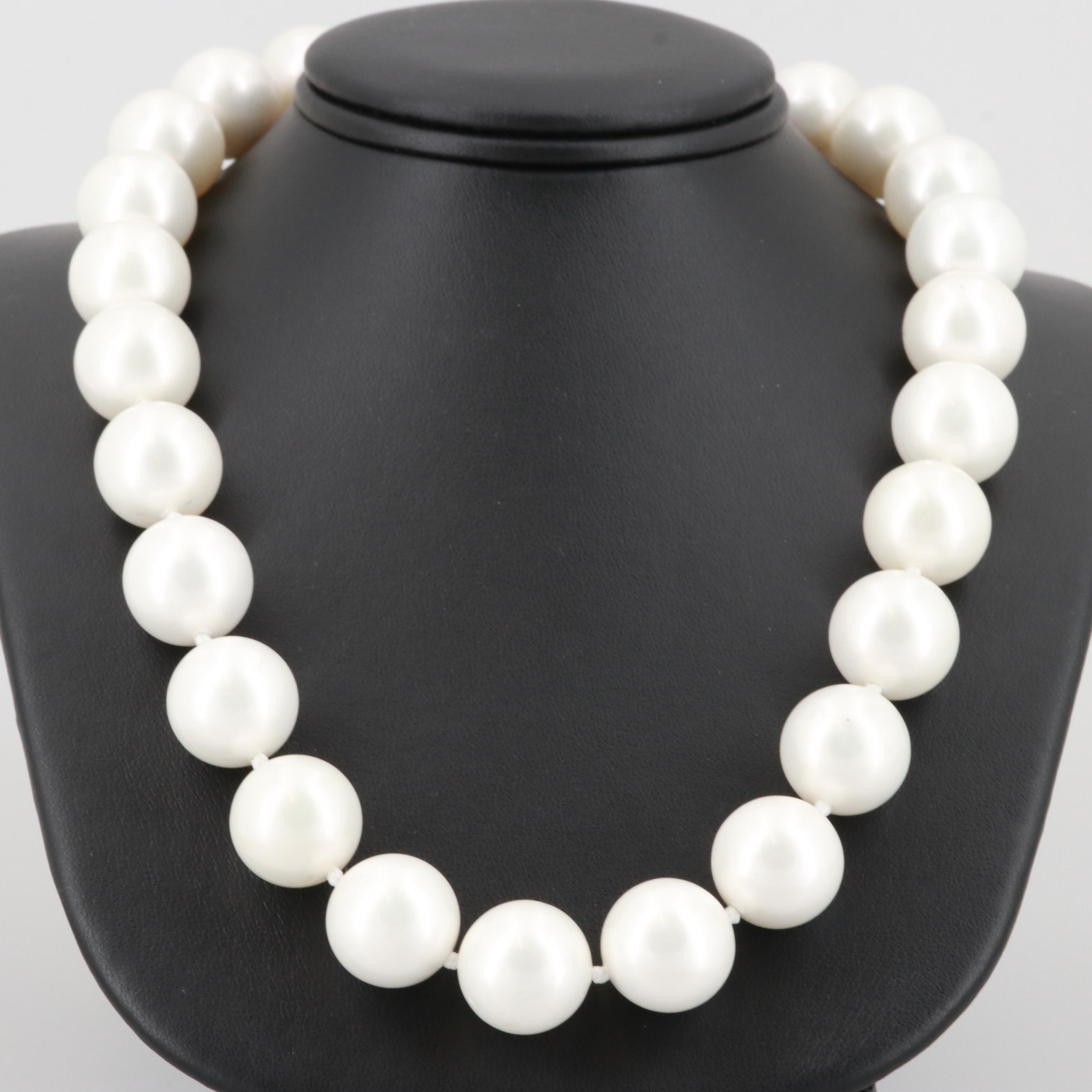 Sterling Silver Imitation Cultured Pearl Beaded Necklace