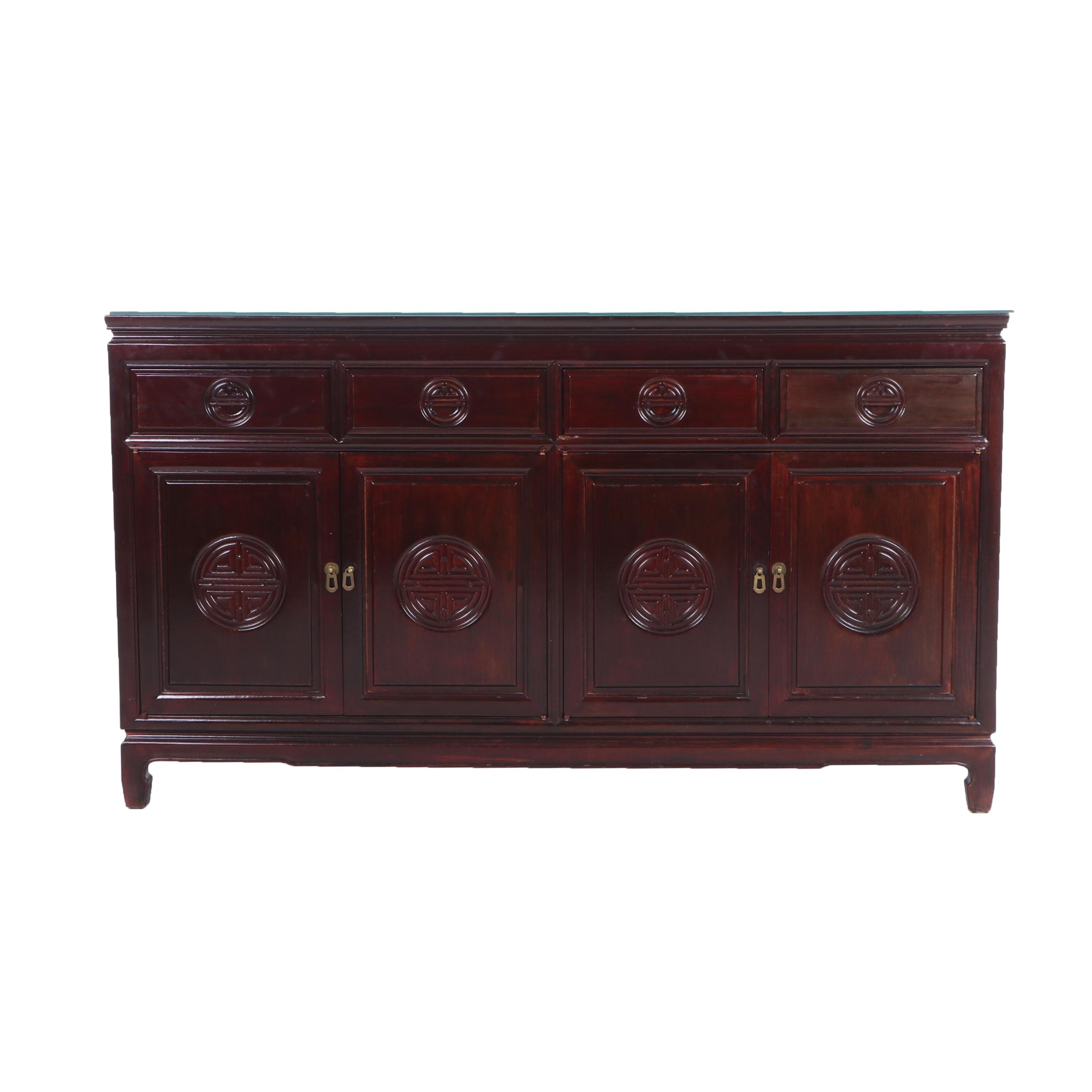 Chinese Inspired Lacquered Wood Sideboard, Contemporary