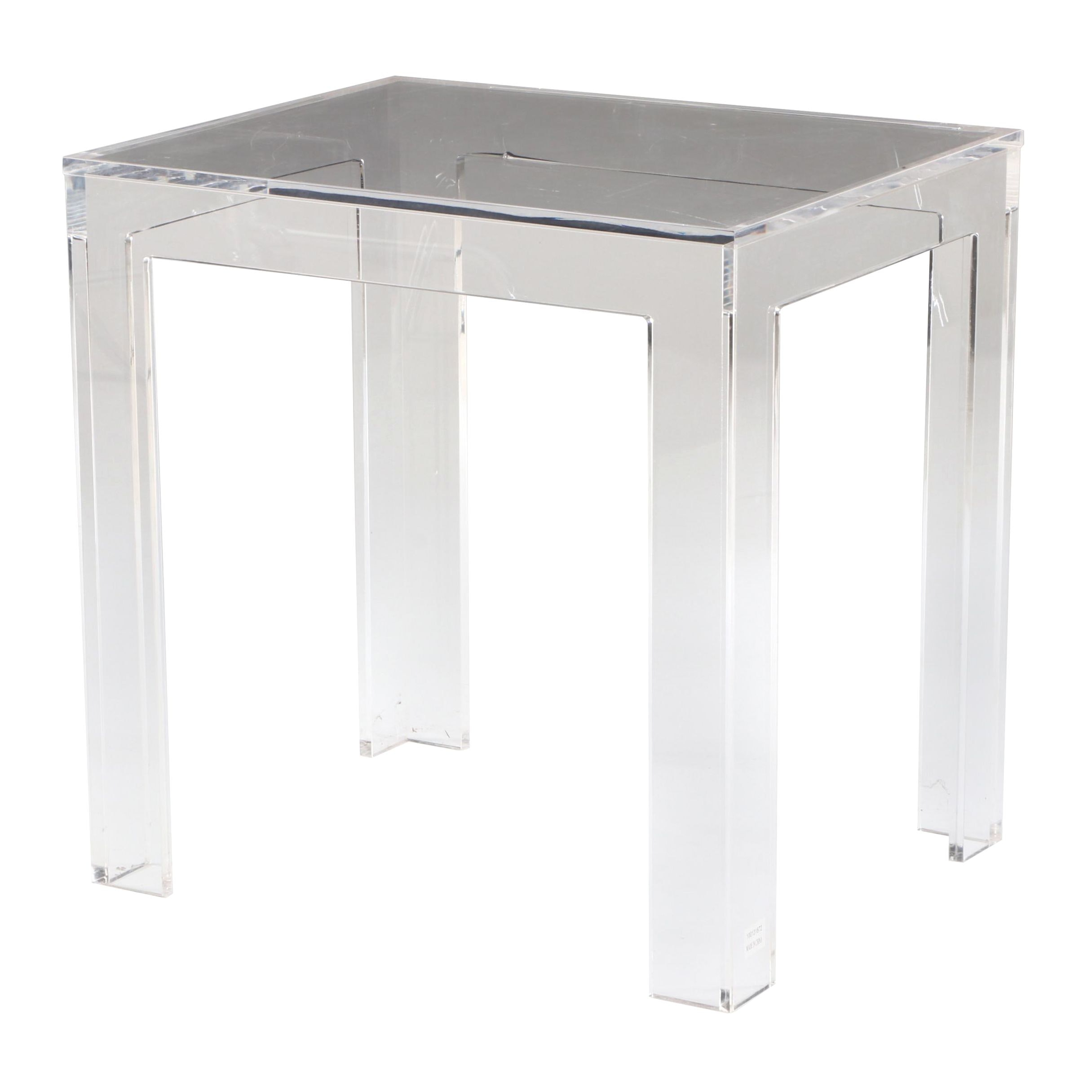 Modernist Clear Acrylic Accent Table, Contemporary