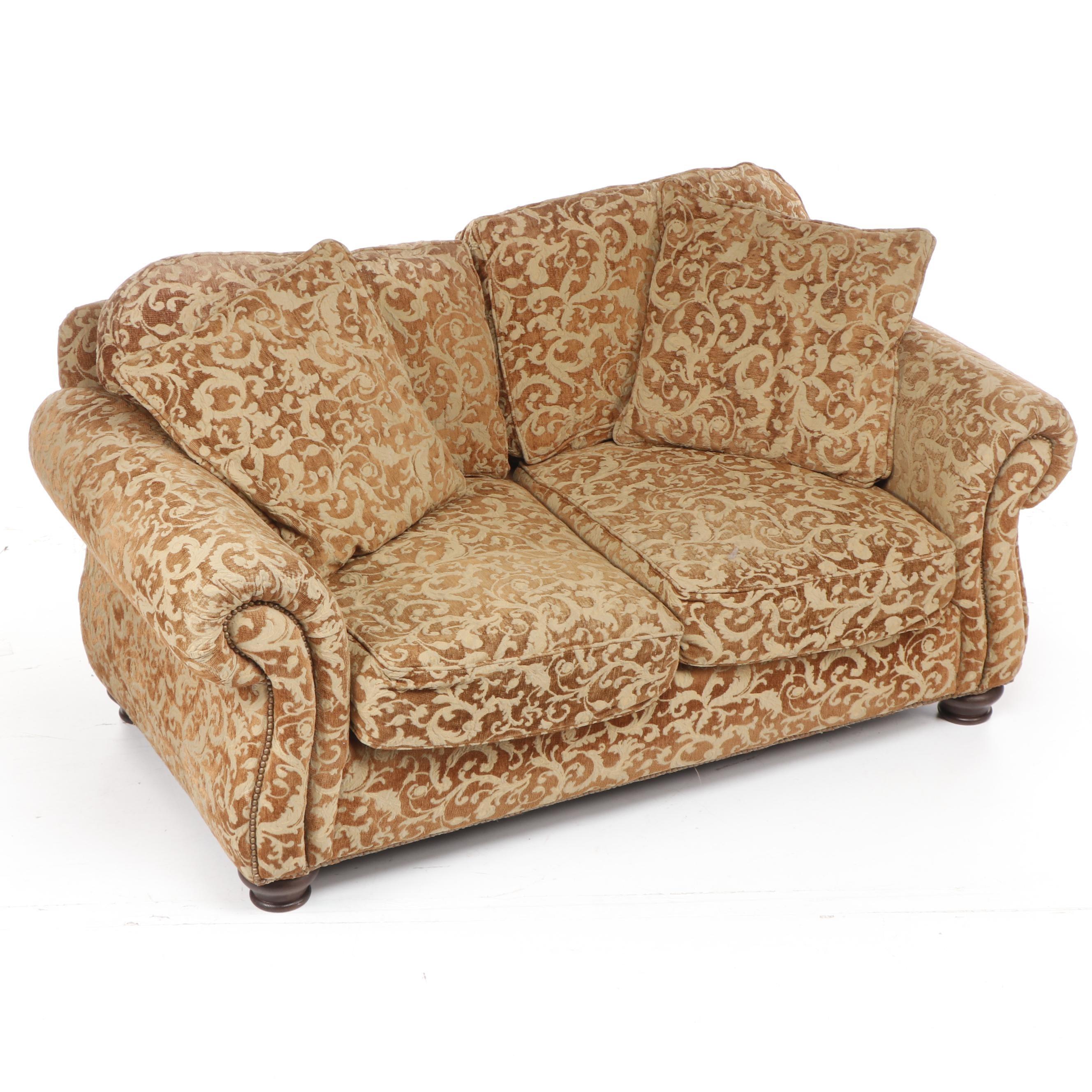"""Bernhardt """"New Vintages"""" Damask Upholstered Loveseat"""