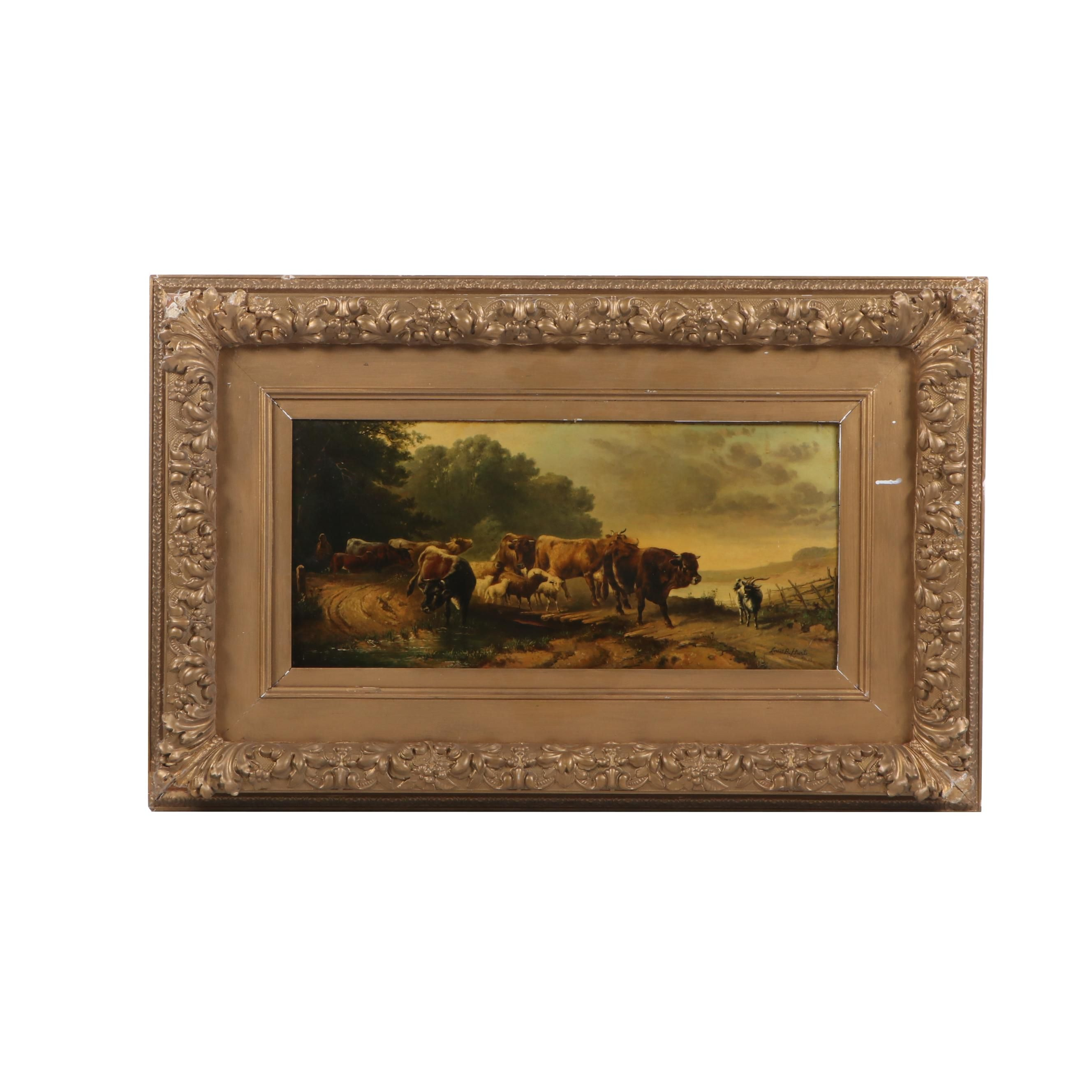 "Oil Painting Attributed to Louis Bosworth Hurt ""Landscape & Cattle"""