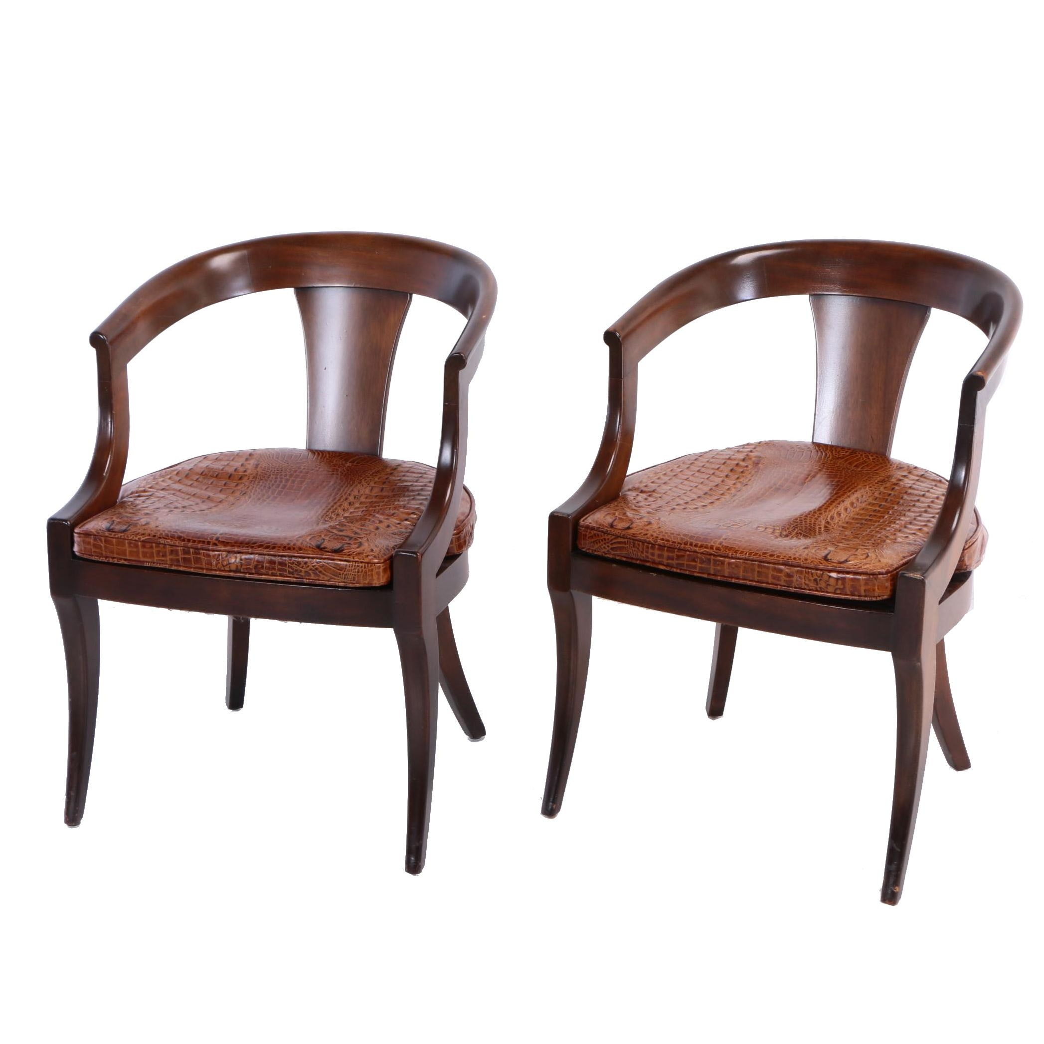 Pair of Mahogany Armchairs with Caiman-Embossed Leather Cushions, 20th Century