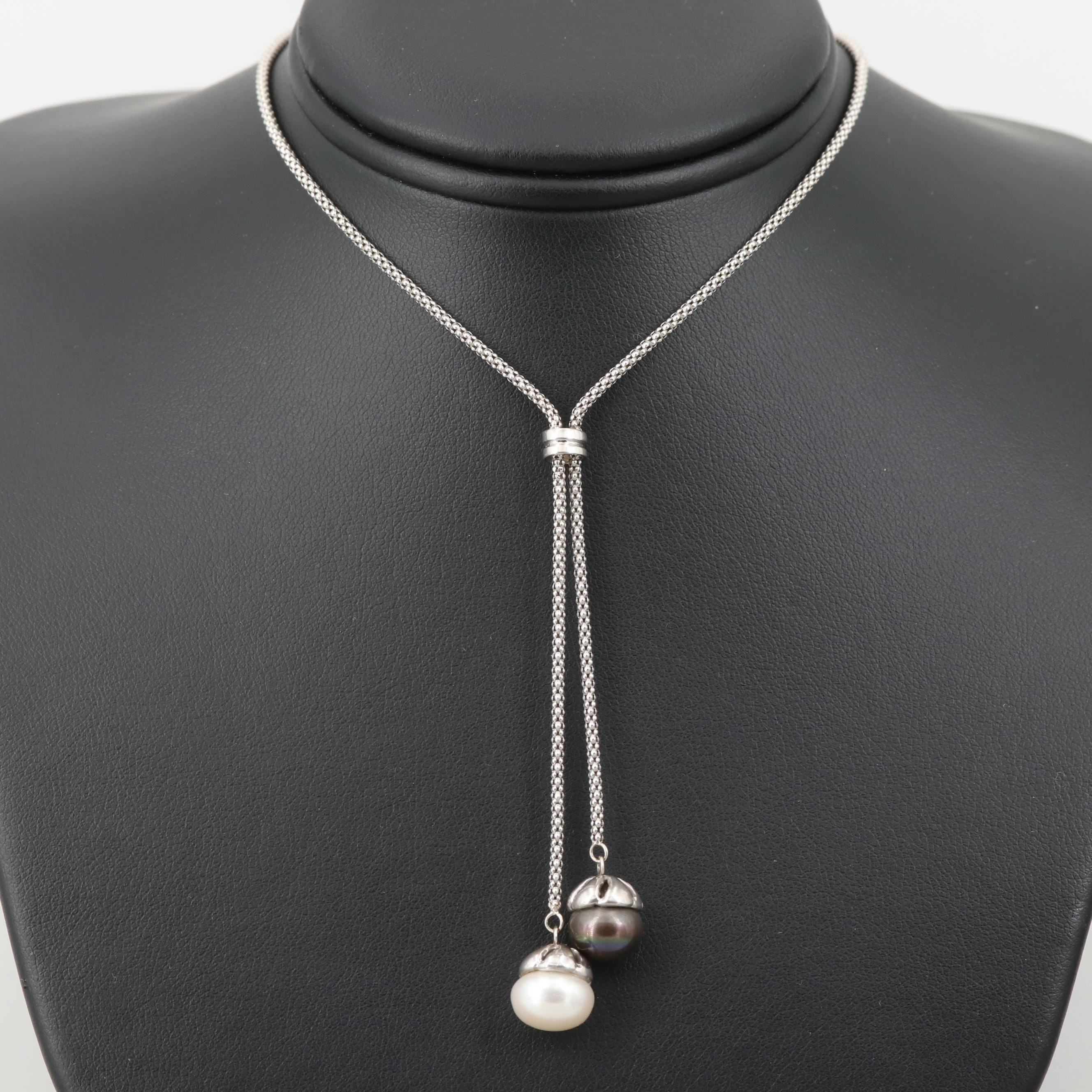 14K White Gold Cultured Pearl Popcorn Chain Necklace