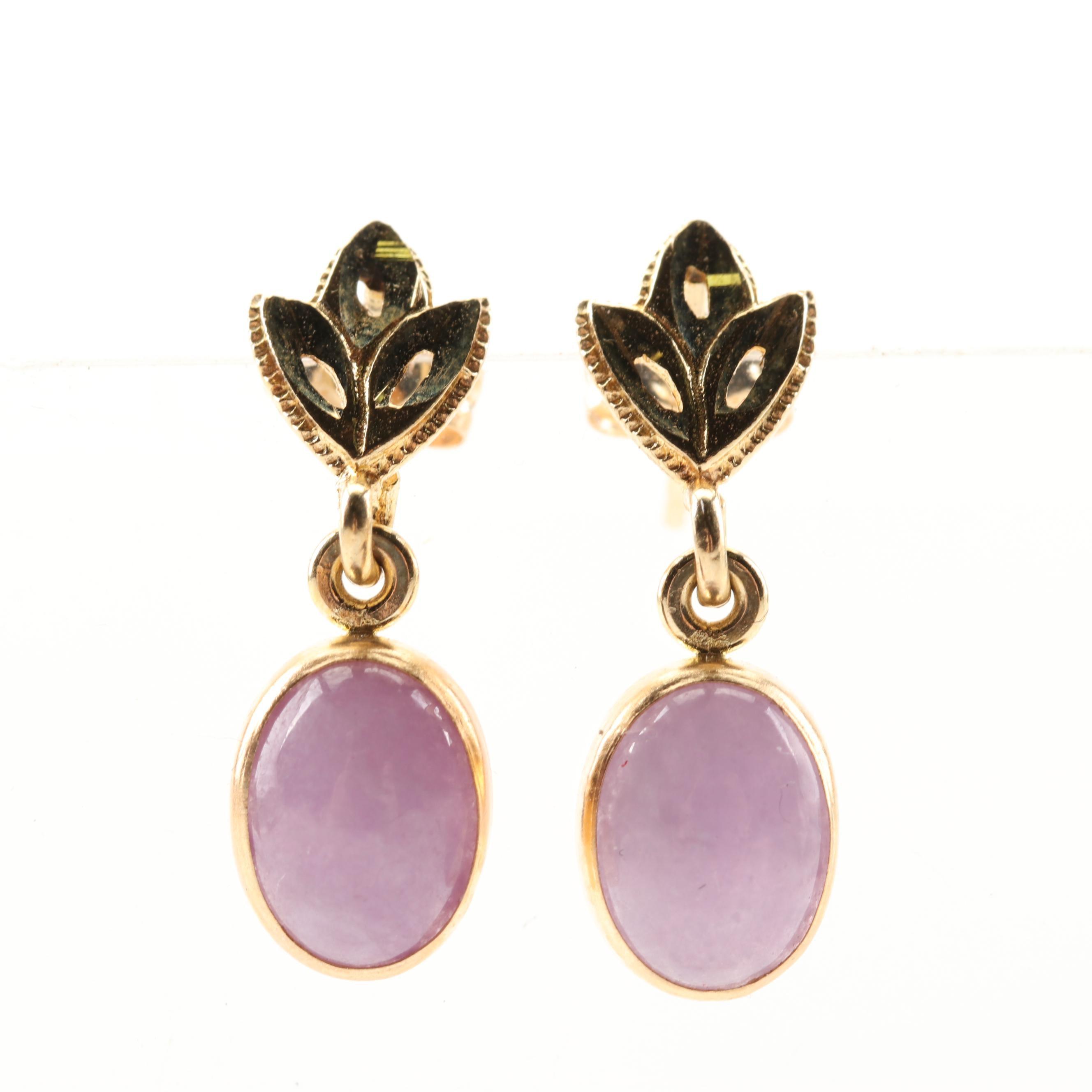 14K Yellow Gold 2.50 CTW Jadeite Dangle Earrings