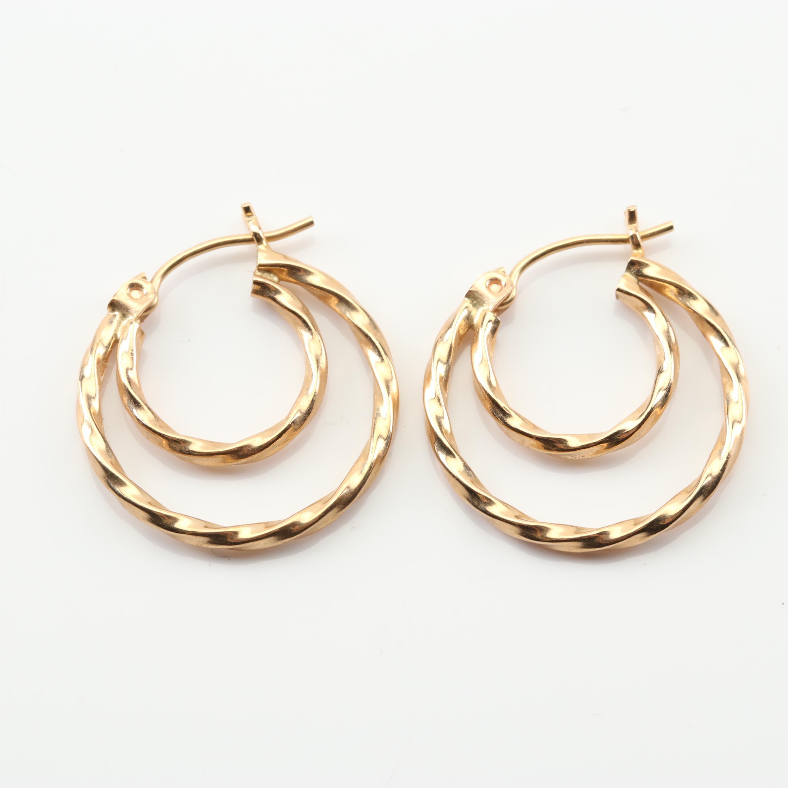 14K Yellow Gold Double Hoop Earrings