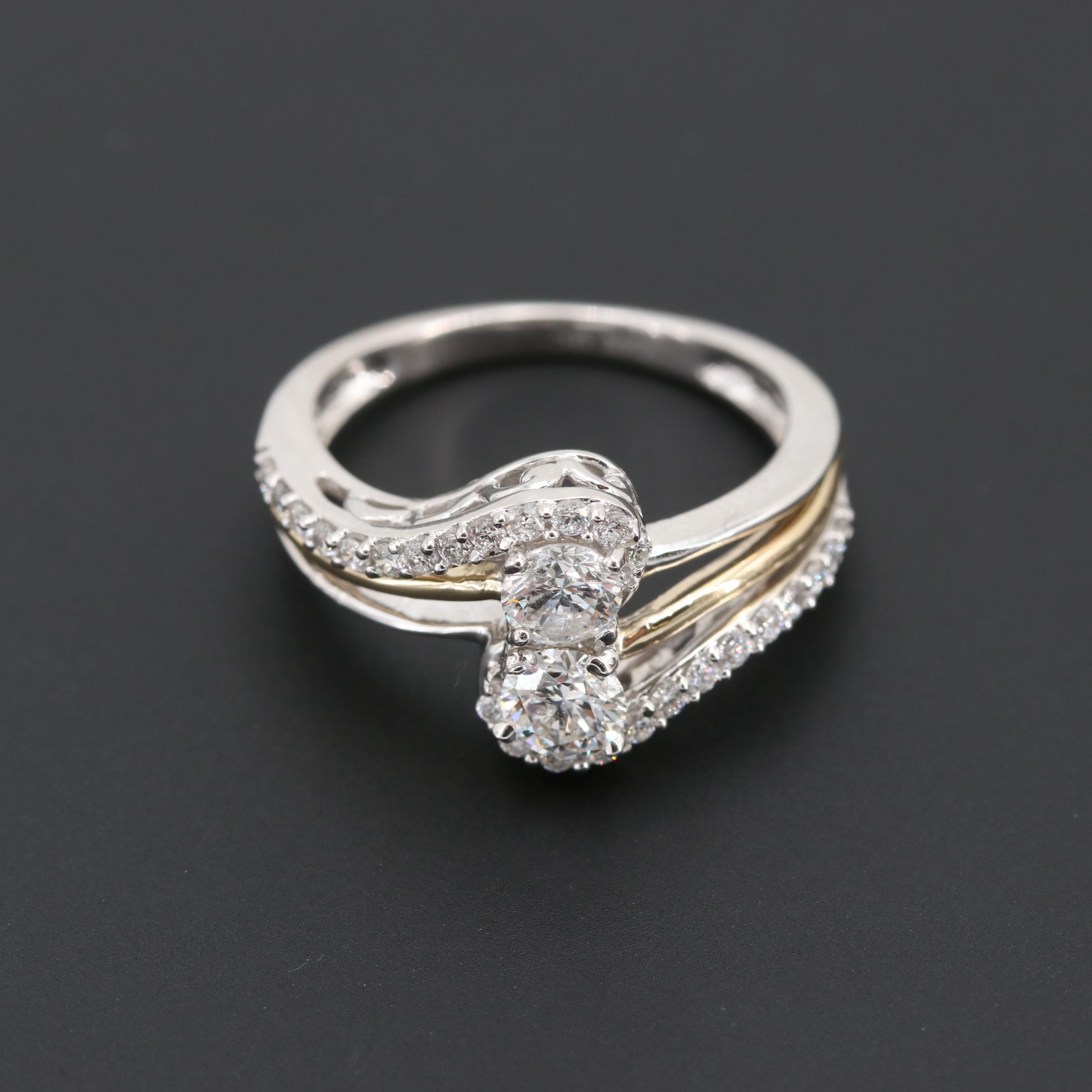 14K White Gold 1.01 CTW Diamond Ring