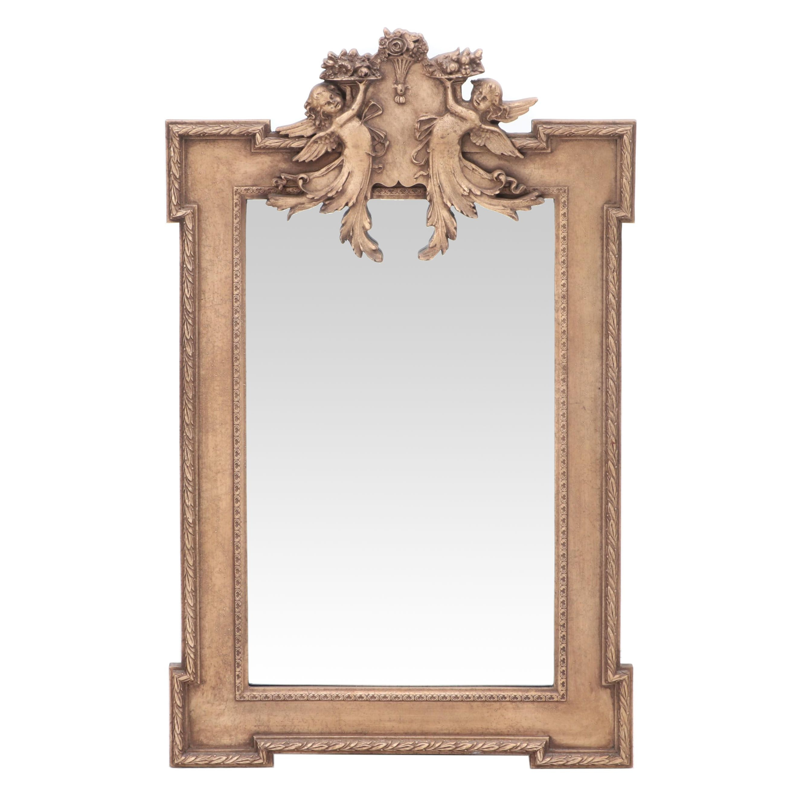 Giltwood Figural Cherub Wall Mirror, Late 20th Century