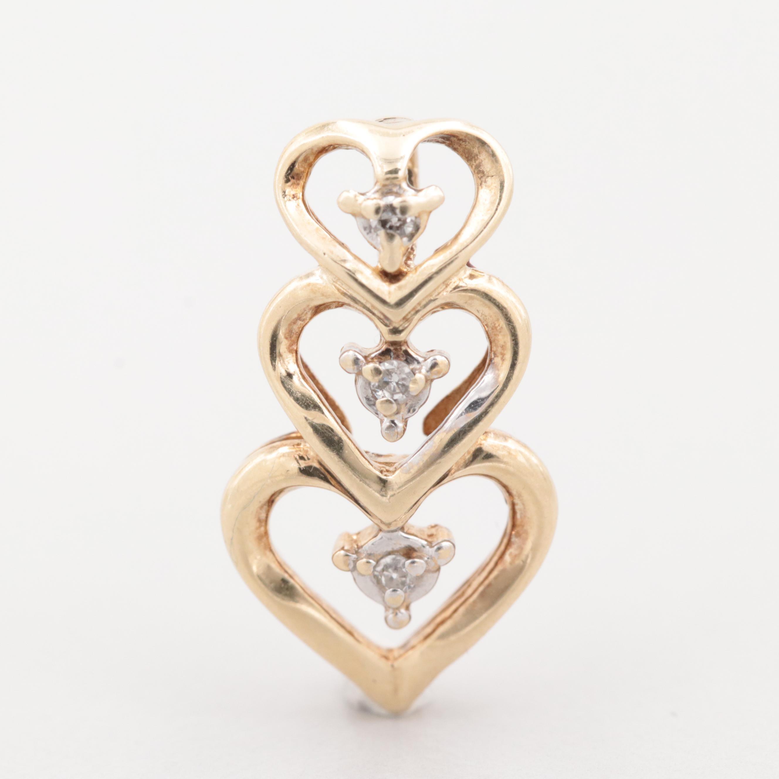 10K Yellow Gold Diamond Three Heart Pendant