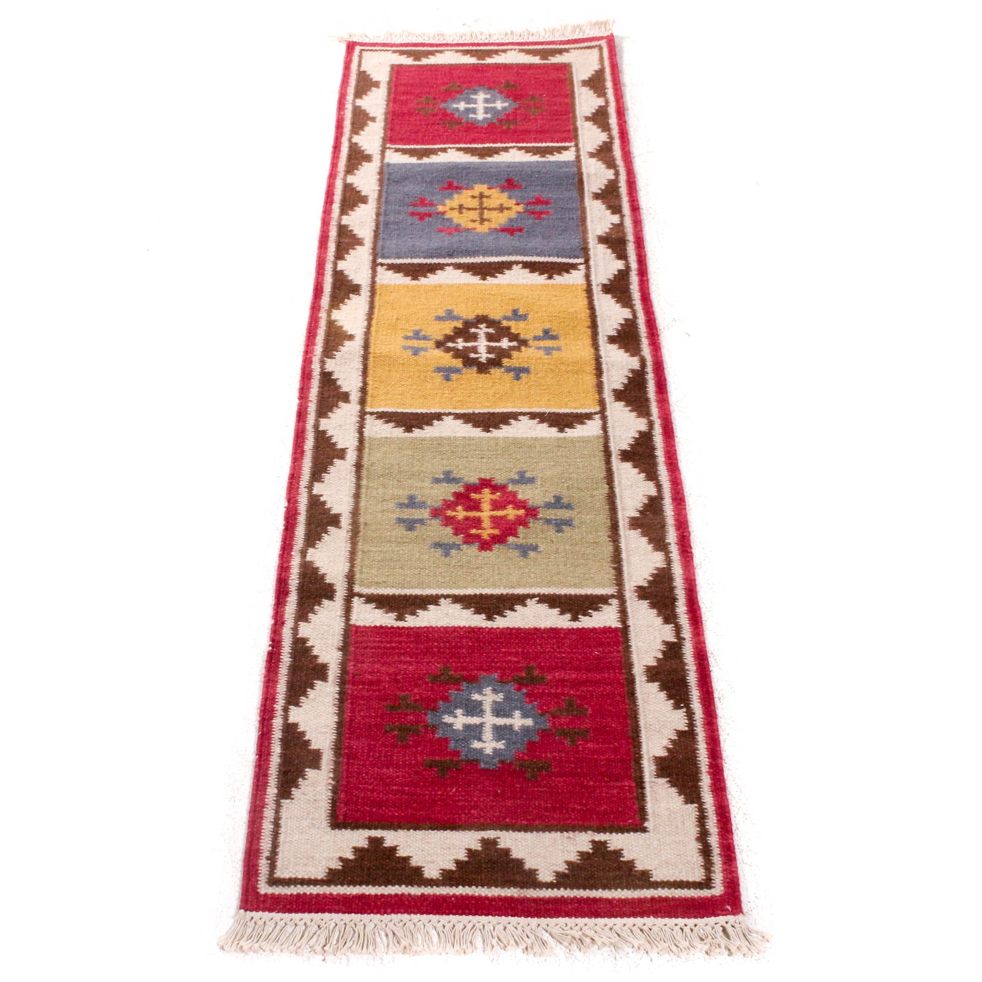 2'5 x 8'3 Hand-Knotted Indo-Turkish Wool Kilim Carpet Runner