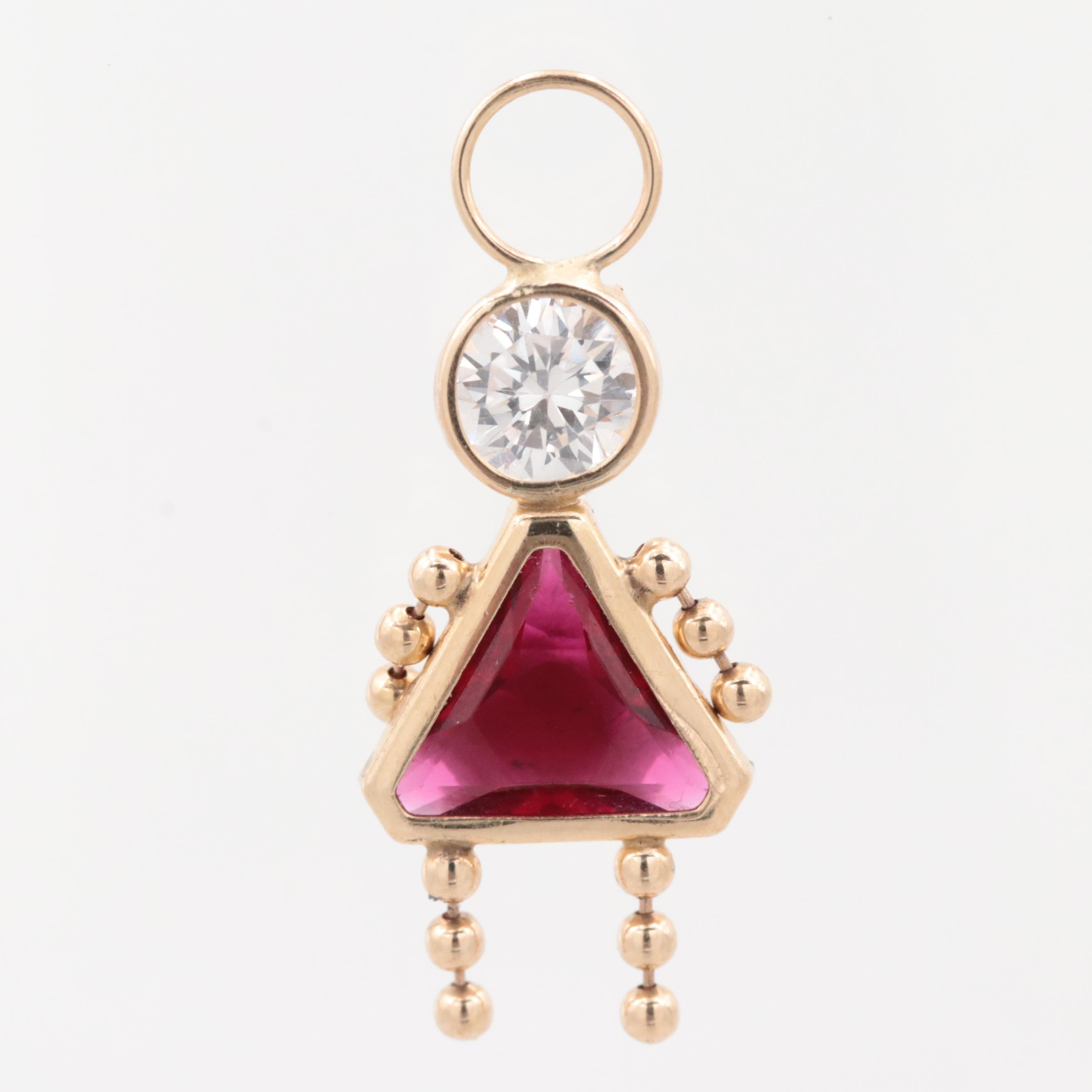 14K Yellow Gold Cubic Zirconia and Glass Figural Pendant