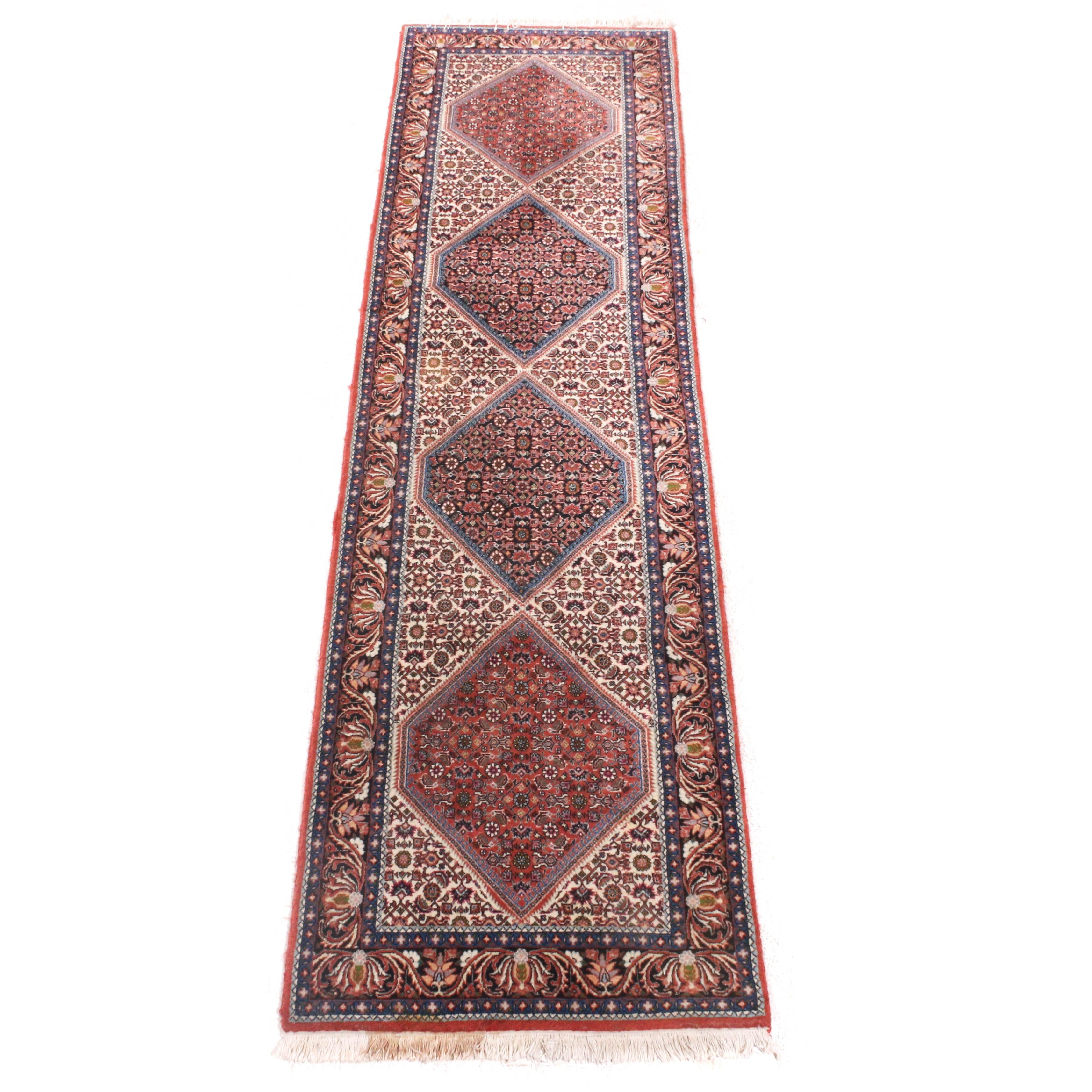 2'7 x 10'1 Hand-Knotted Persian Bijar Wool Carpet Runner