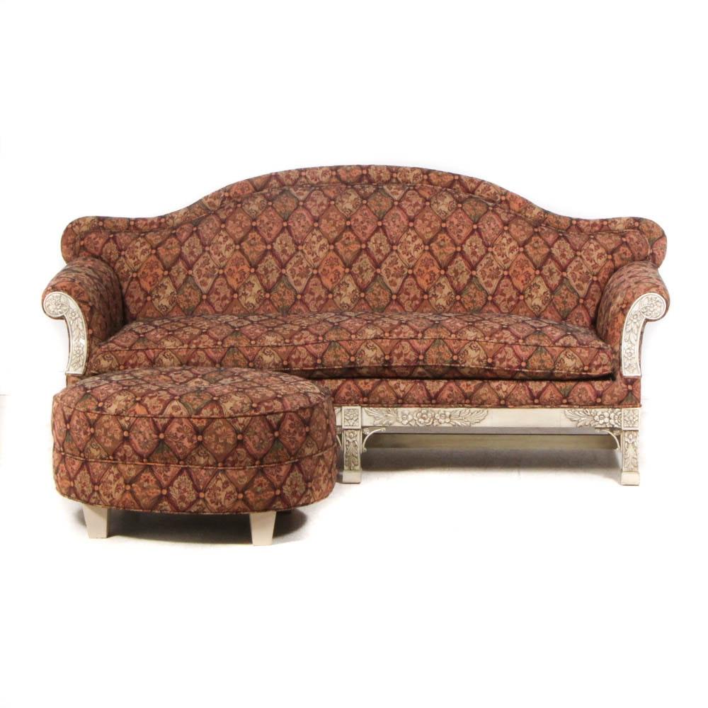 Contemporary Upholstered Camelback Sofa
