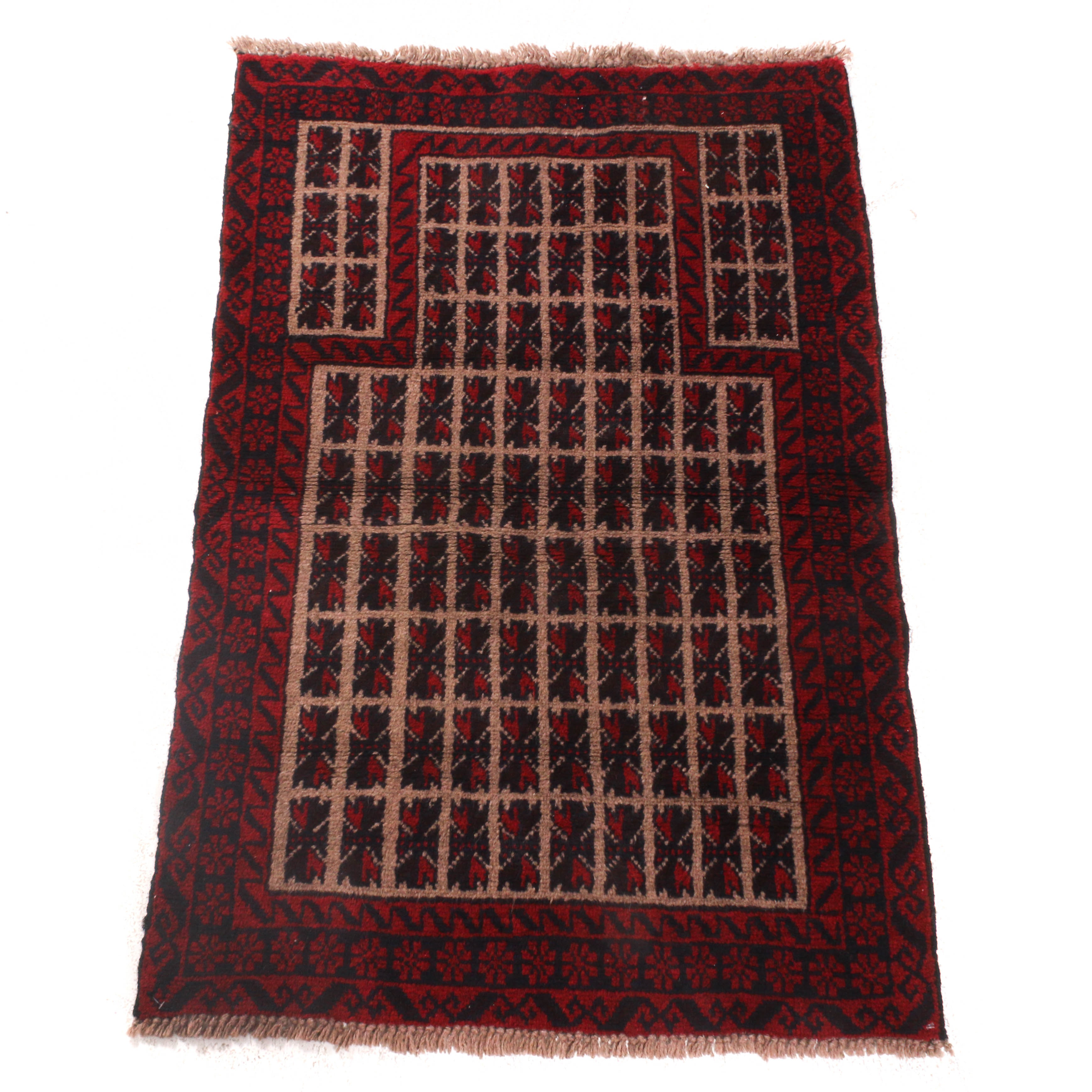 2'11 x 4'5 Hand-Knotted Persian Baluch Wool Rug