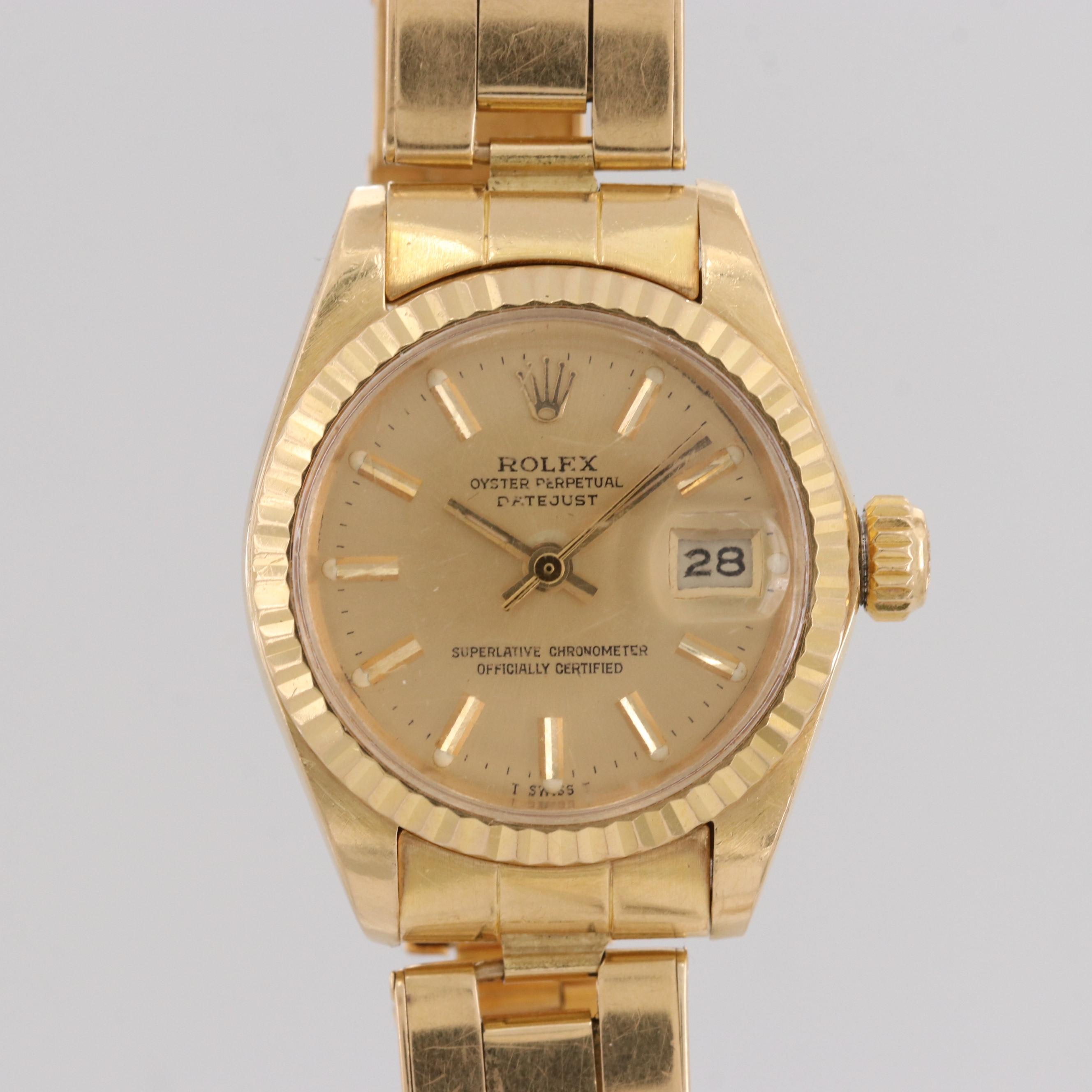 Vintage Rolex Datejust 18K Yellow Gold Automatic Wristwatch, 1979