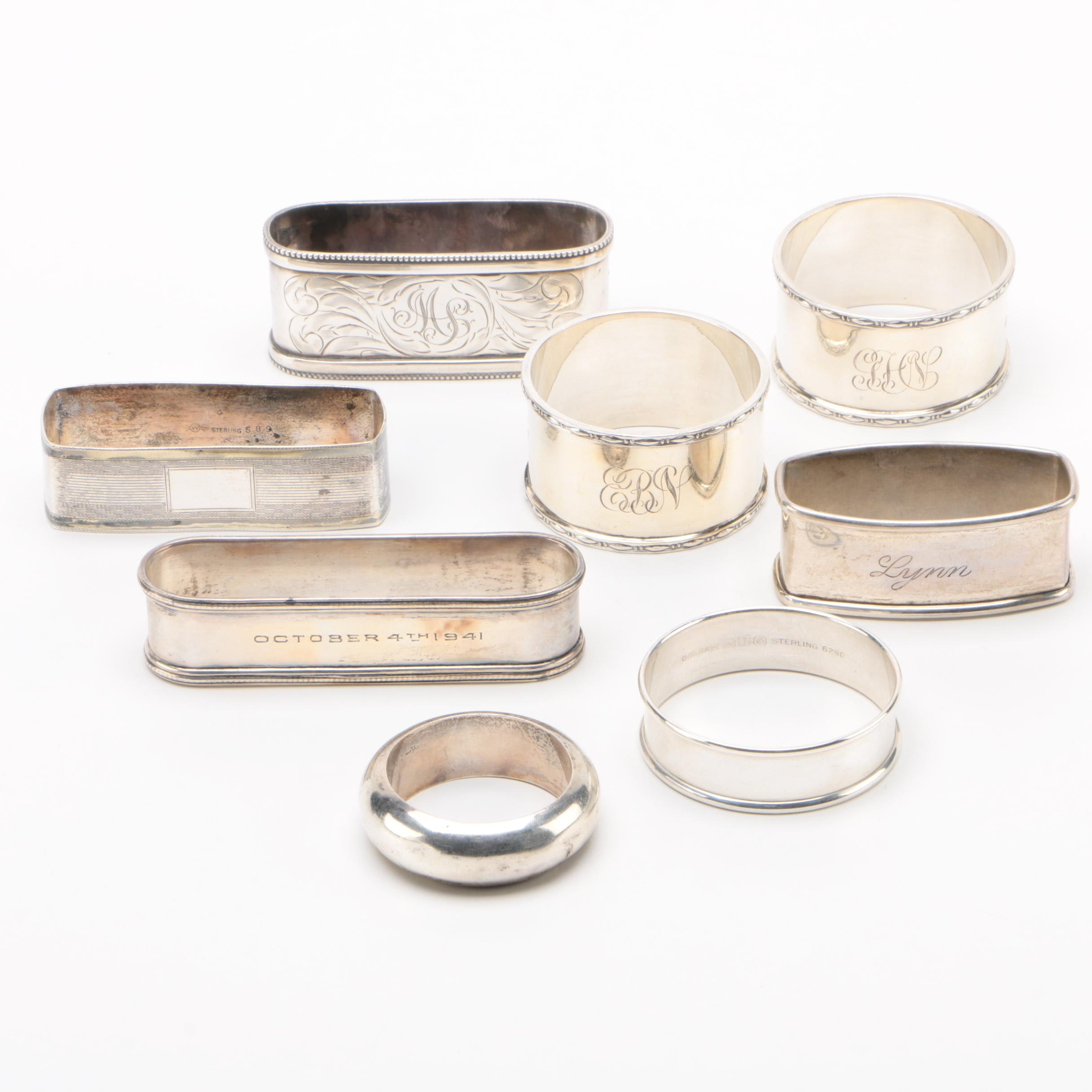 English and American Sterling Silver Napkin Rings, Early 20th Century