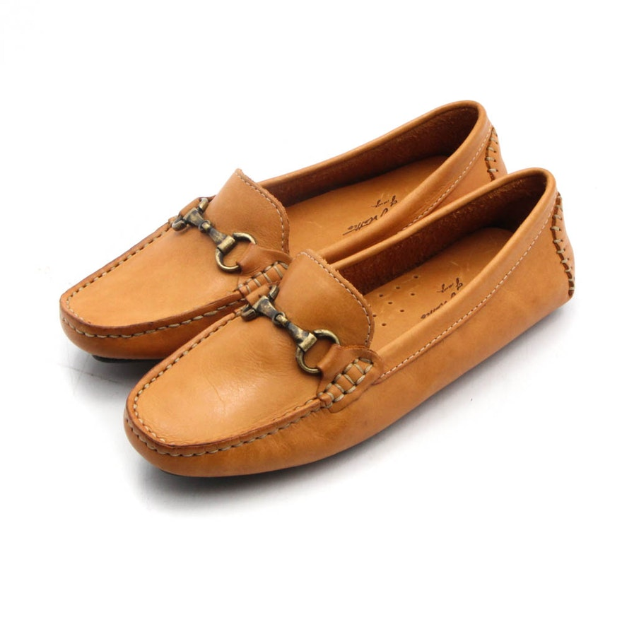 f19a6a19523 Women's Massimo Matteo Driver Moccasin in Tan Leather with Brass Bit ...