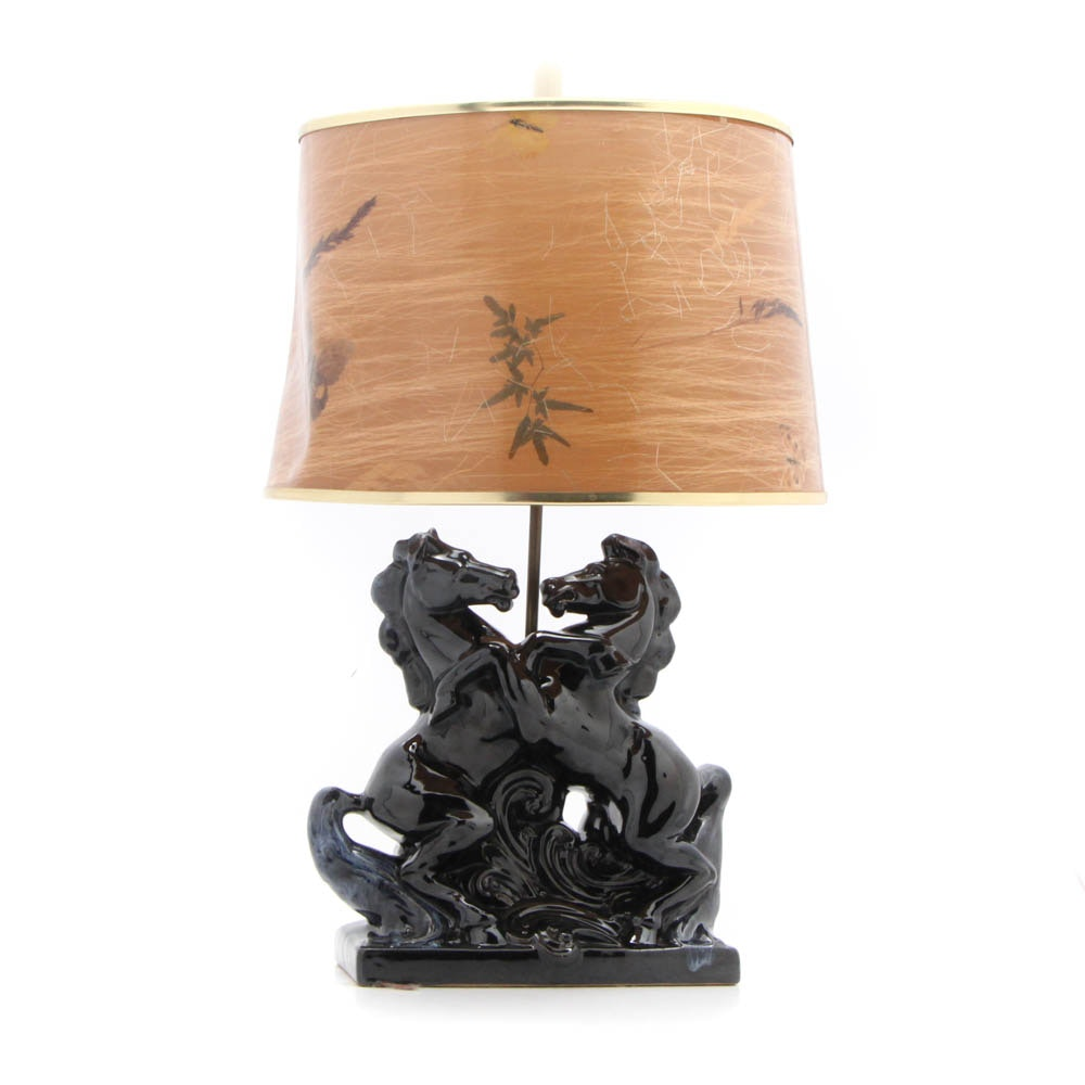 Anna Van Briggle Black Stallion Table Lamp with Shade