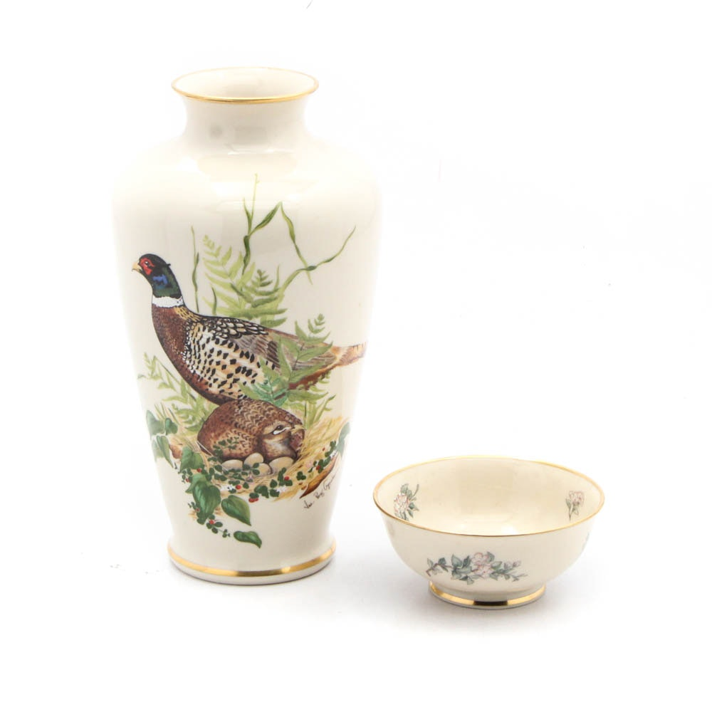 "Lenox ""Ring Necked Pheasant"" Game Bird Vase and ""Serenade"" Bowl"