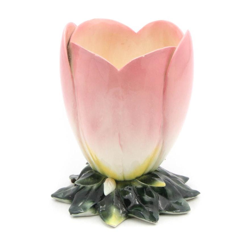 Italian Ceramic Floral TV Lamp, Mid-Century