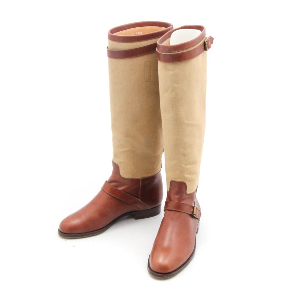 Ralph Lauren Leather and Canvas Riding Boots