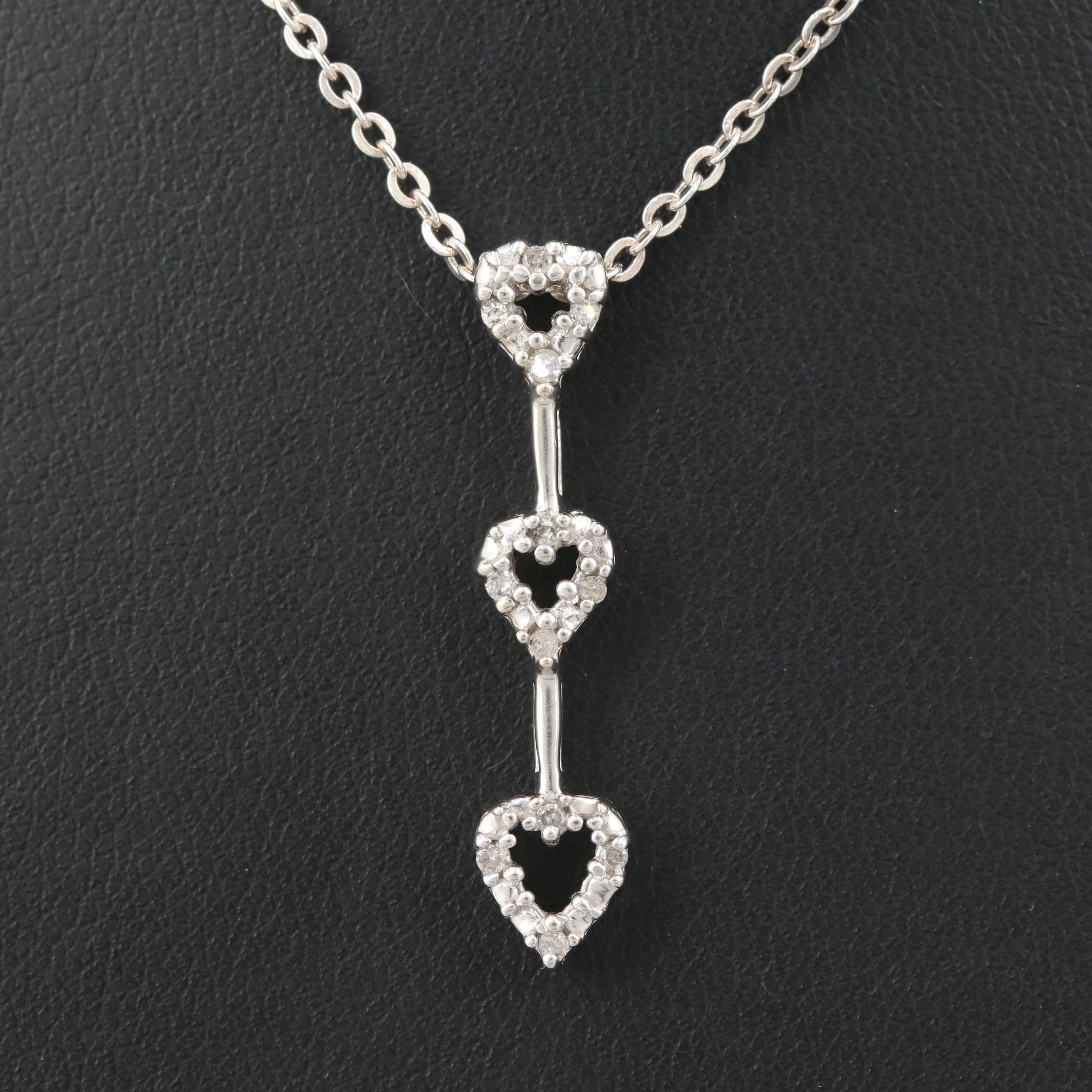10K White Gold and Sterling Silver Diamond Triple Heart Necklace