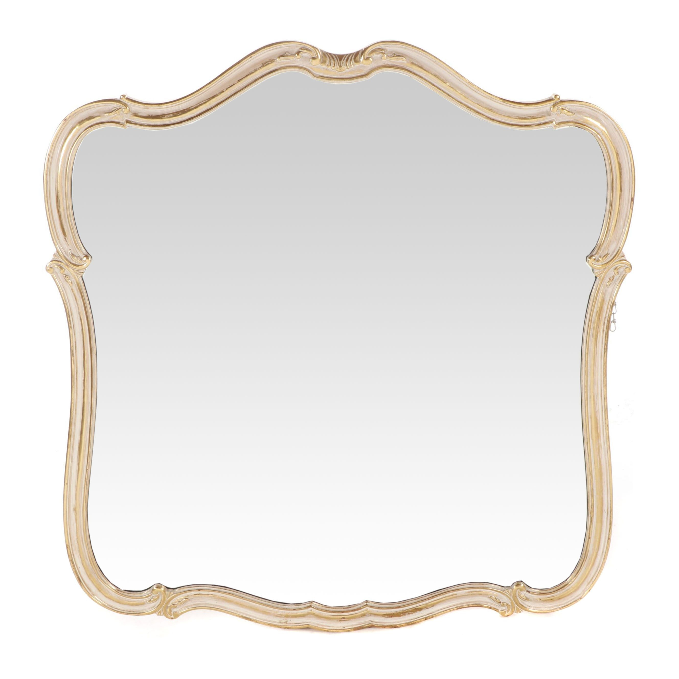 Rococo Style Wall Hanging Mirror with Painted Gold Finish Frame