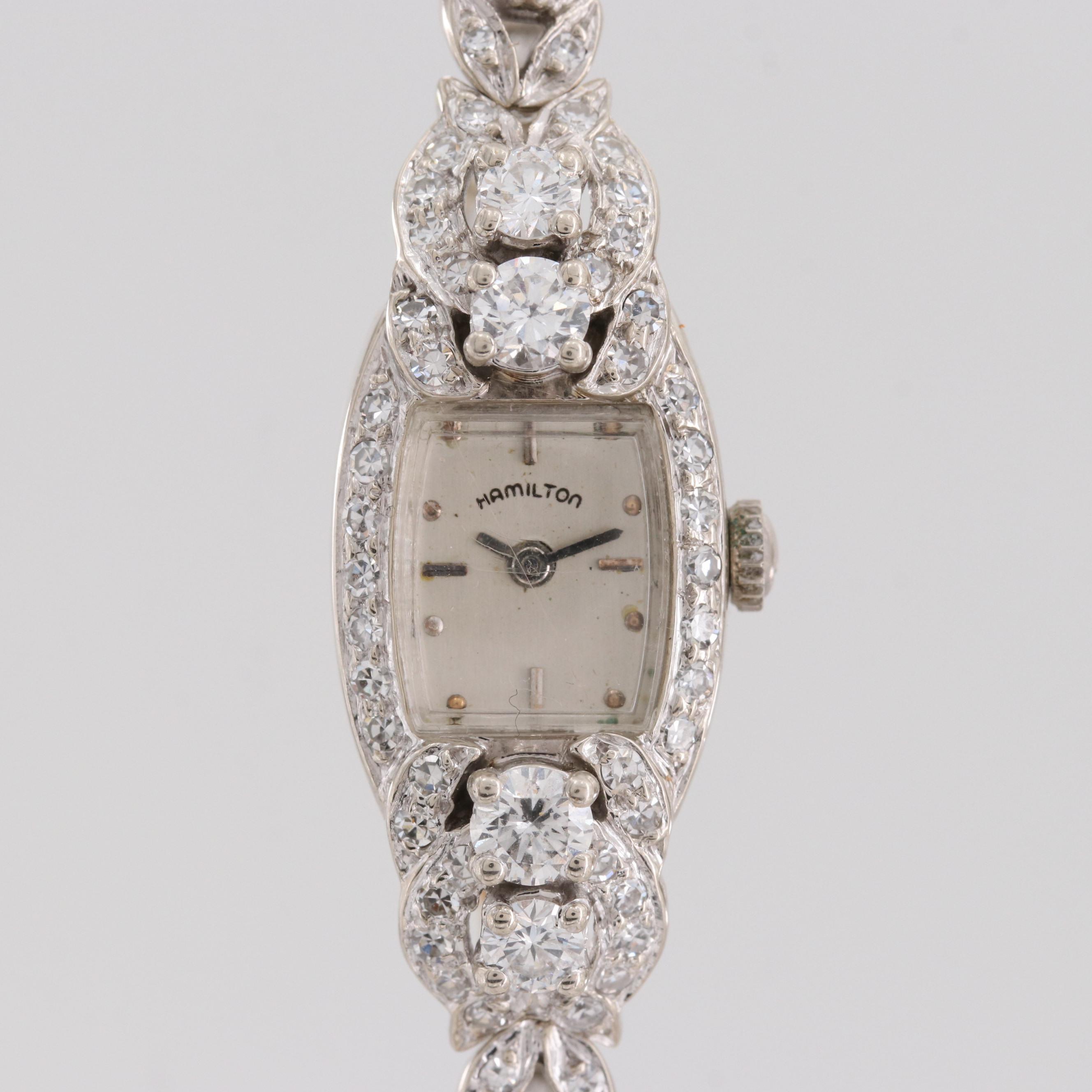 Vintage Hamilton 14K White Gold 2.55 CTW Diamond Quartz Wristwatch