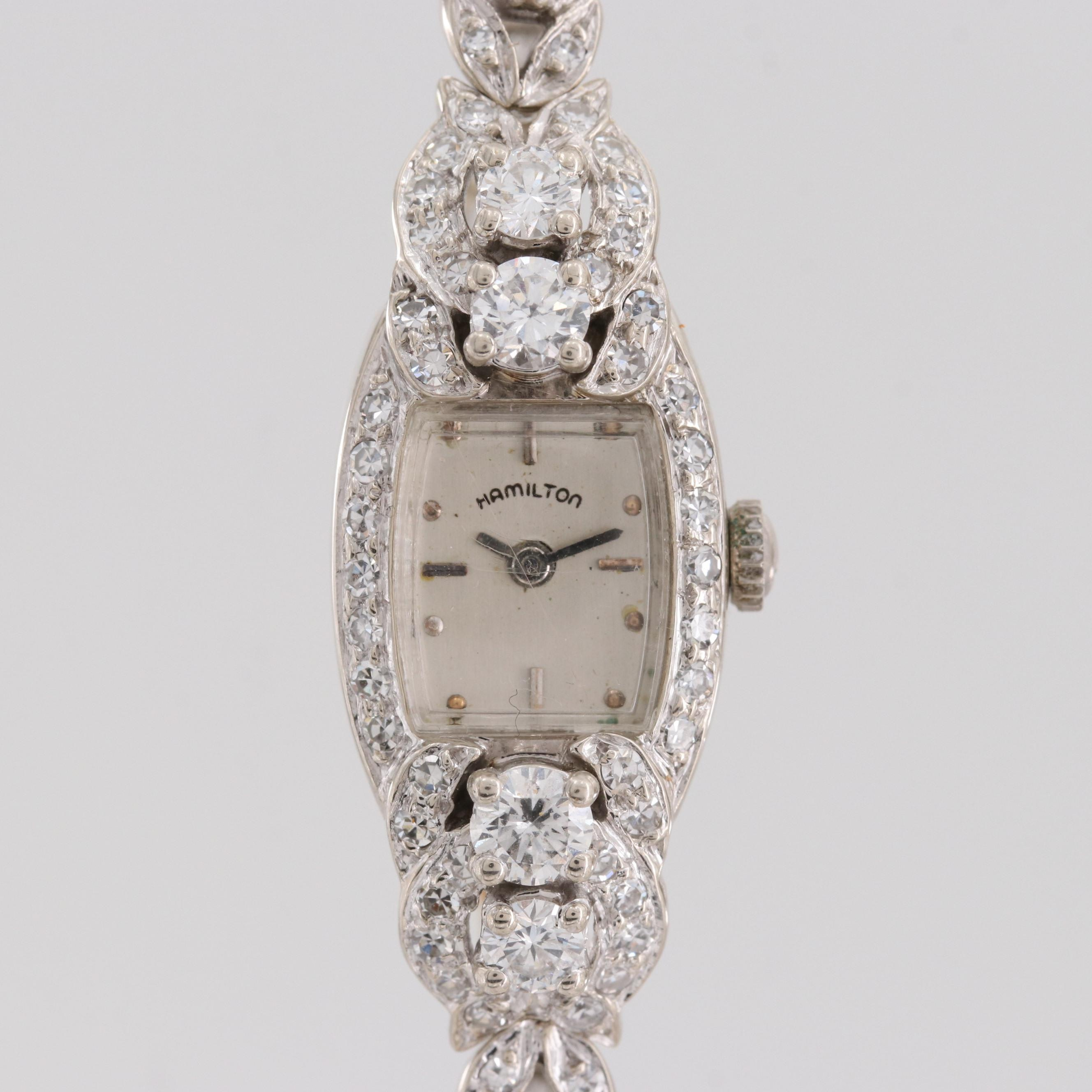 Vintage Hamilton 14K White Gold 2.55 CTW Diamond Quartz Wristwatch