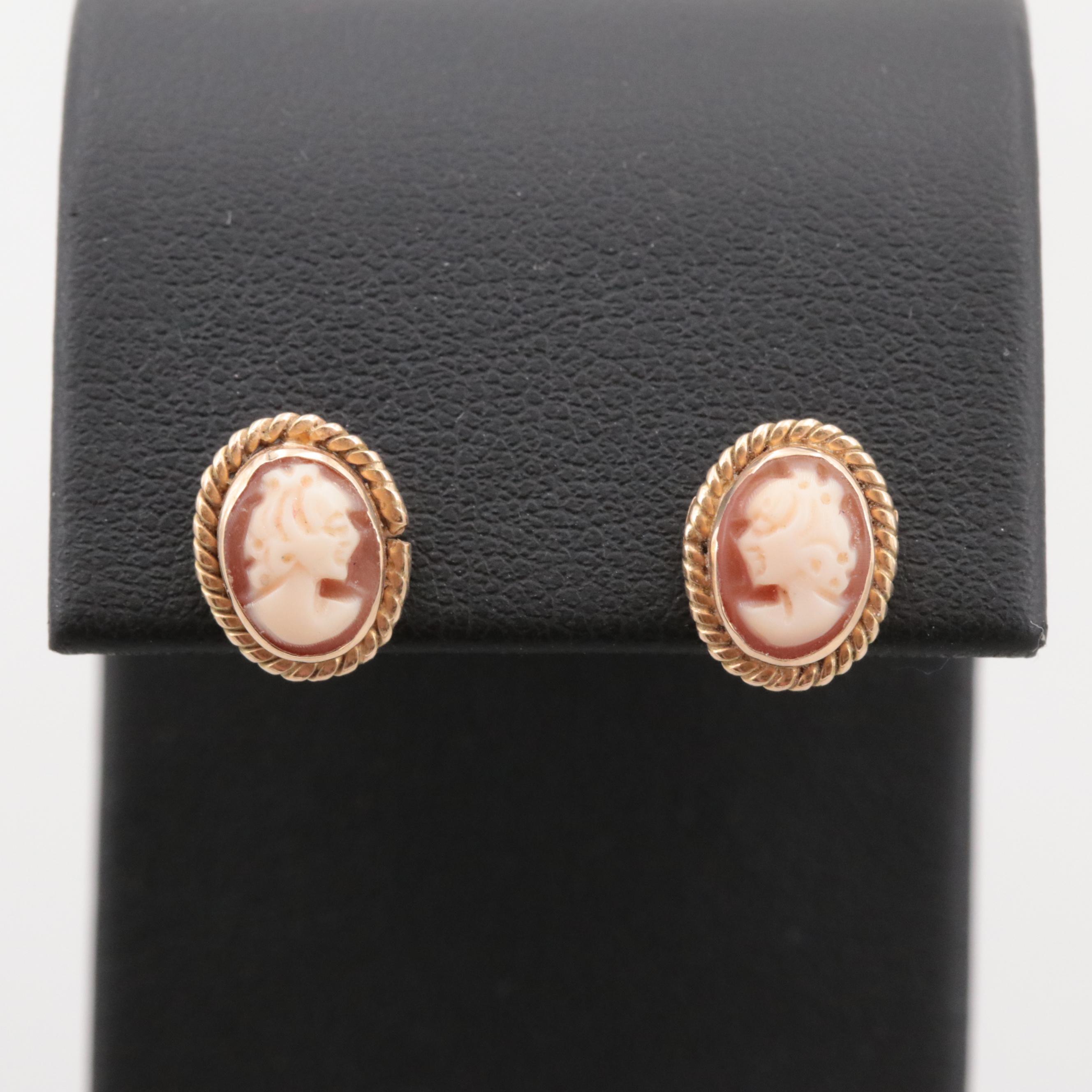 14K Yellow Gold Shell Cameo Stud Earrings
