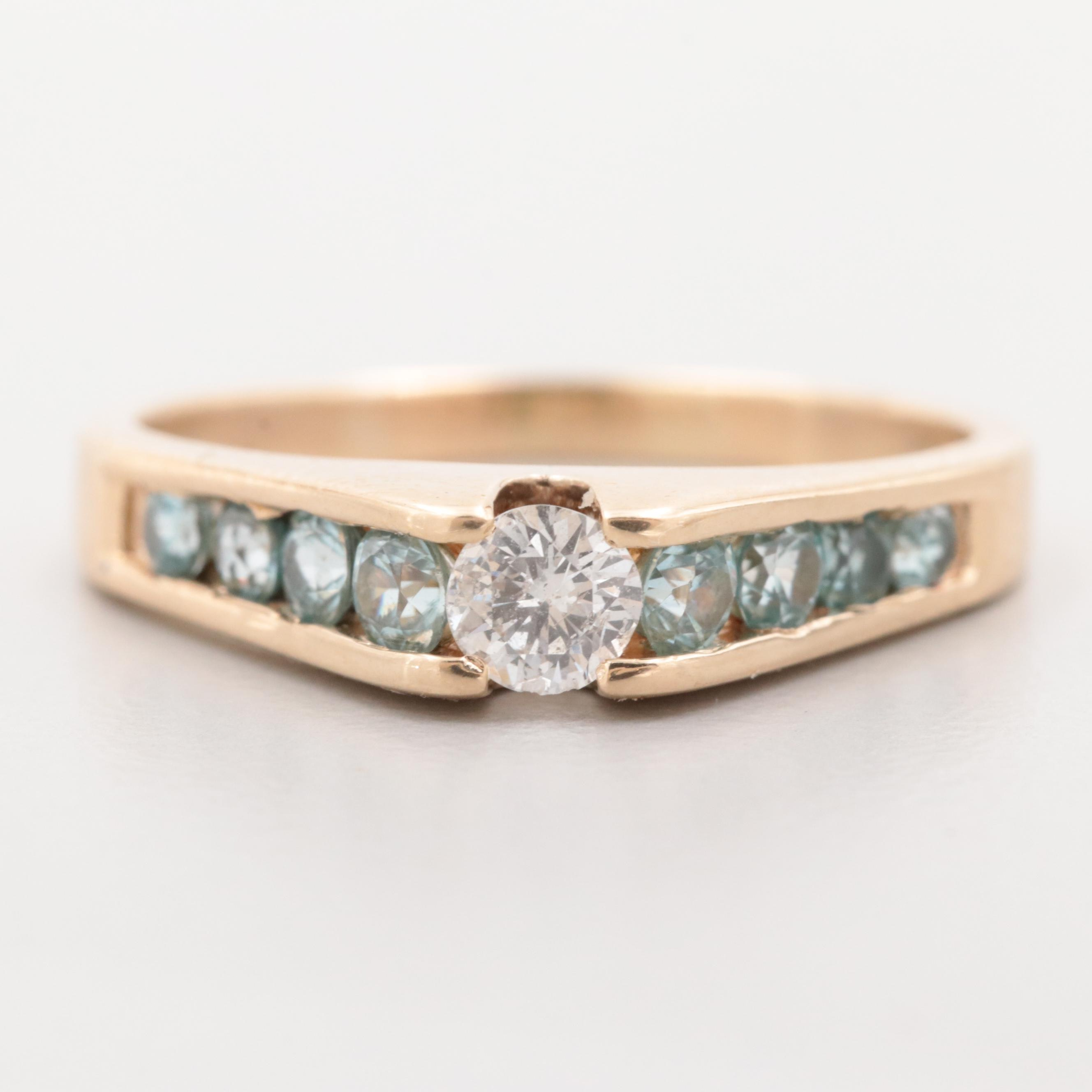 14K Yellow Gold Diamond and Zircon Ring
