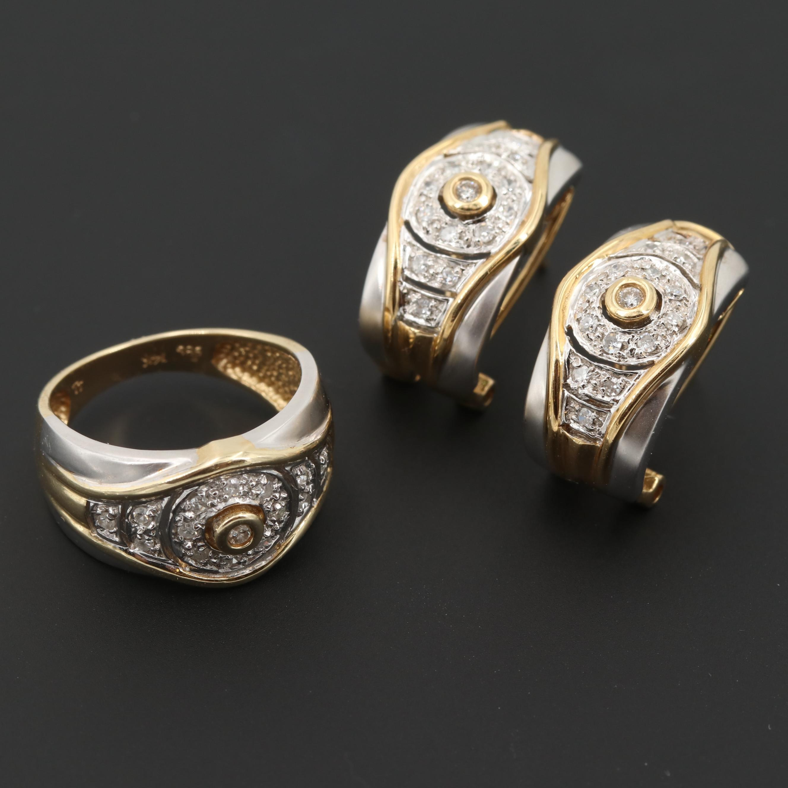 14K White Gold Diamond Earrings and Ring with Yellow Gold Accents