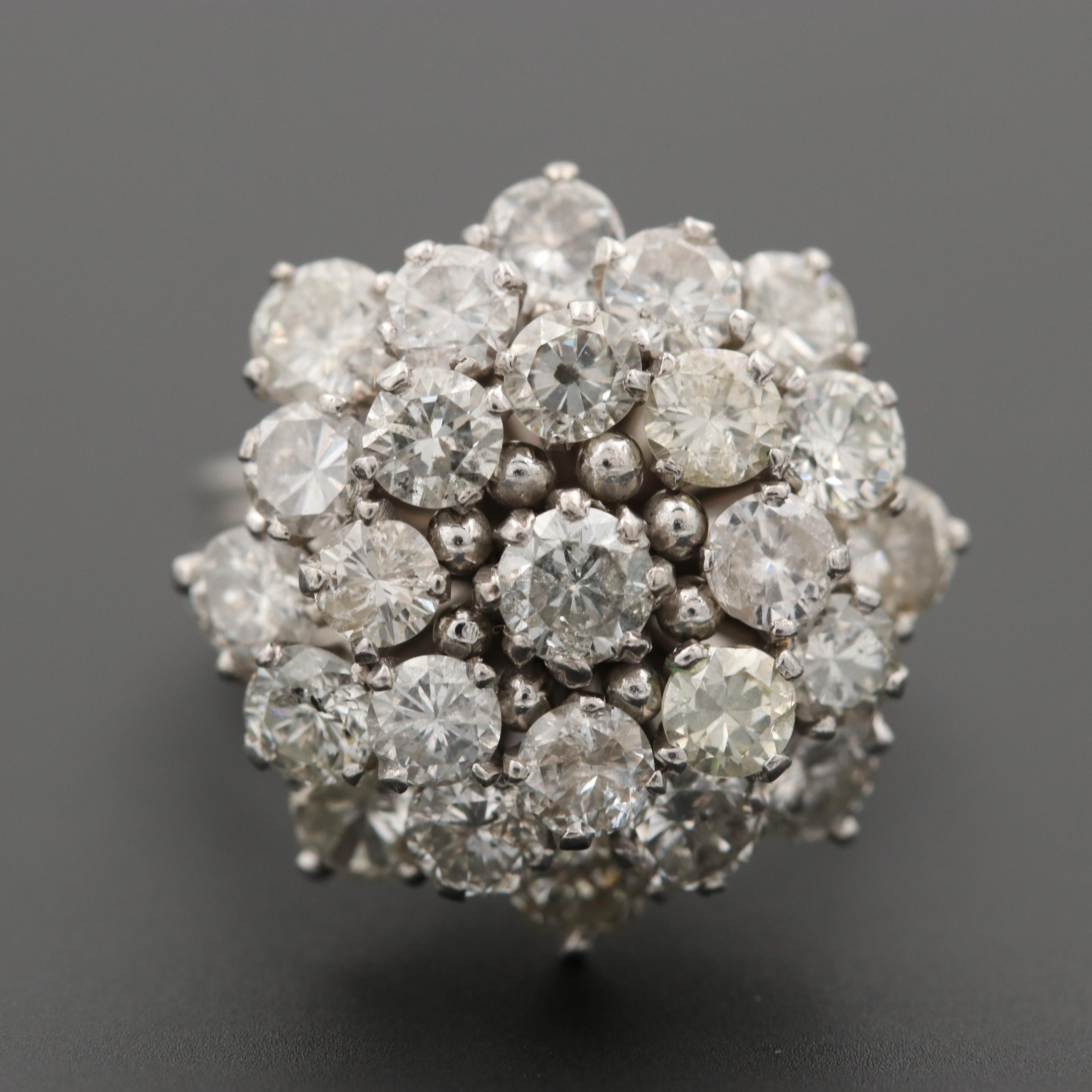 Vintage 10K White Gold 4.04 CTW Diamond Cluster Ring