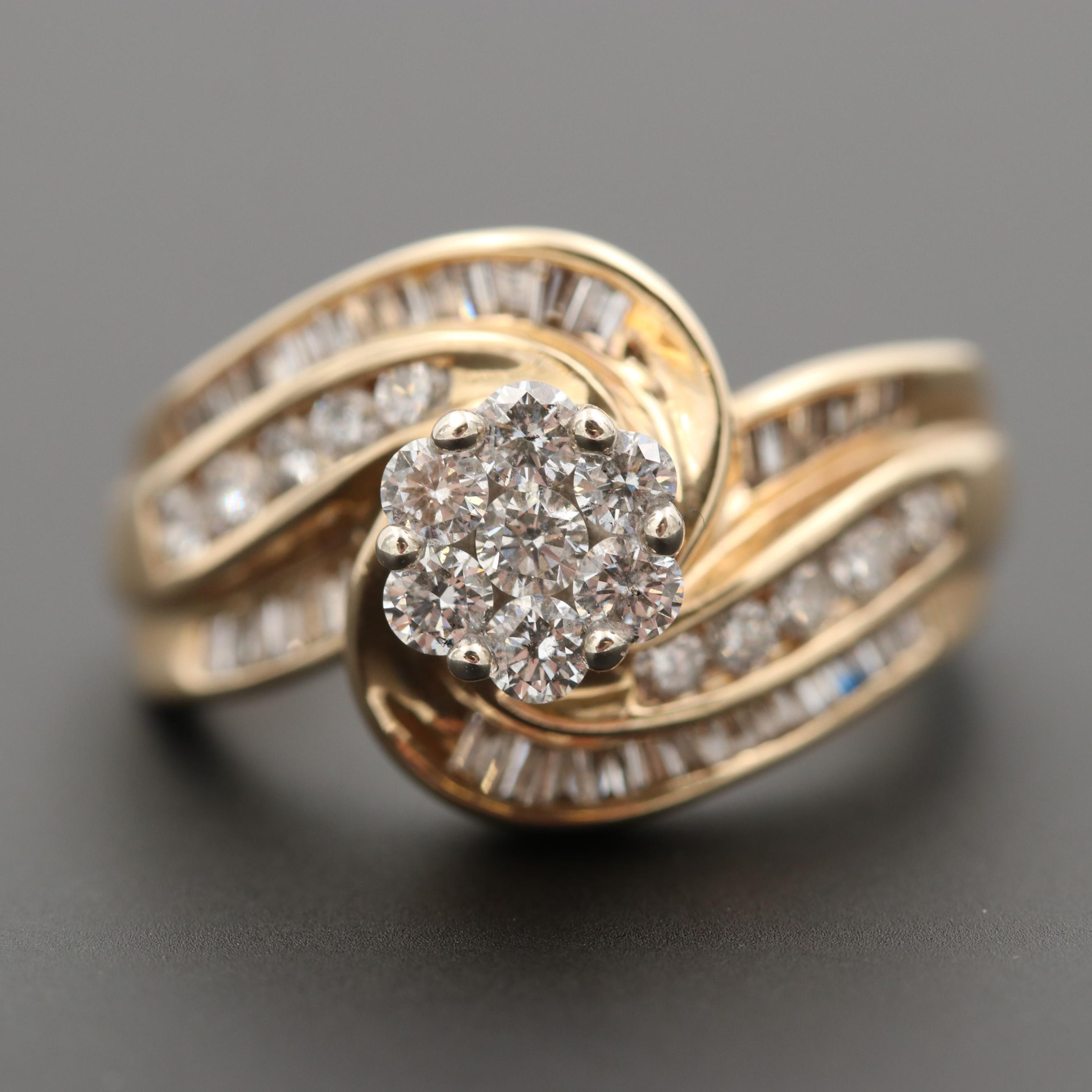 10K Yellow Gold 1.04 CTW Diamond Cluster Ring